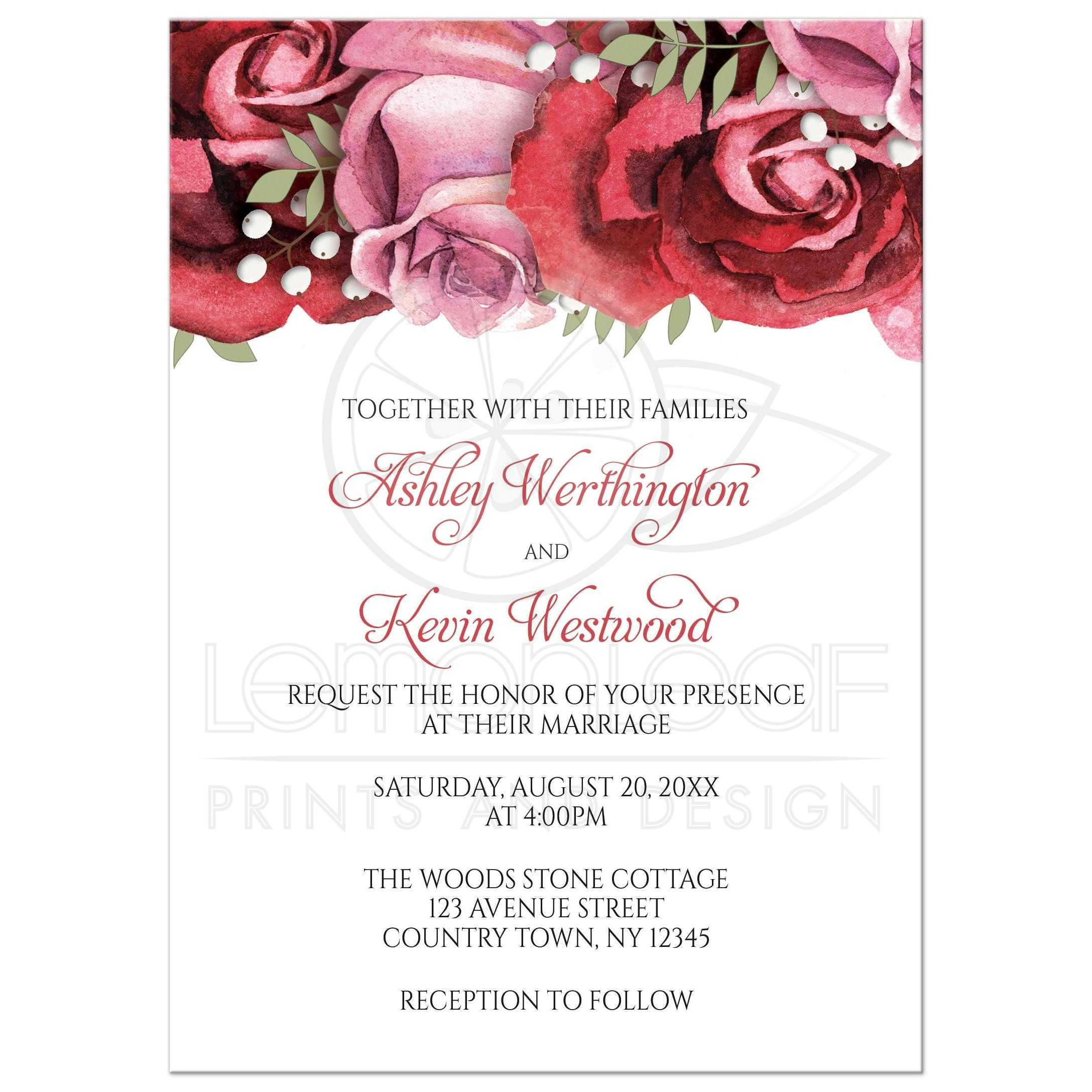 Wedding Invitations Burgundy Red Pink Rose