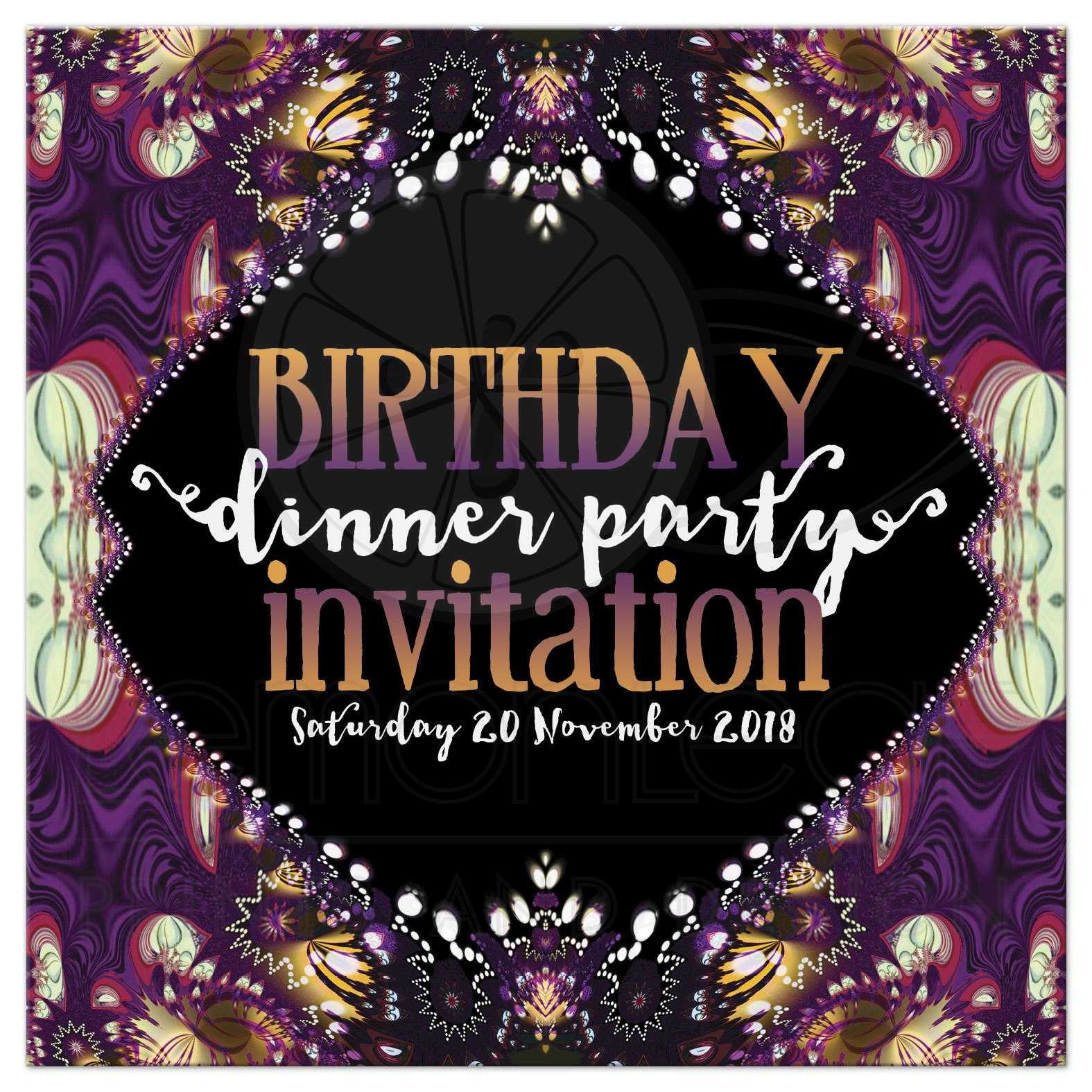 Purple bohemian lace birthday dinner invitation purple bohemian lace fractals birthday dinner party invitation stopboris