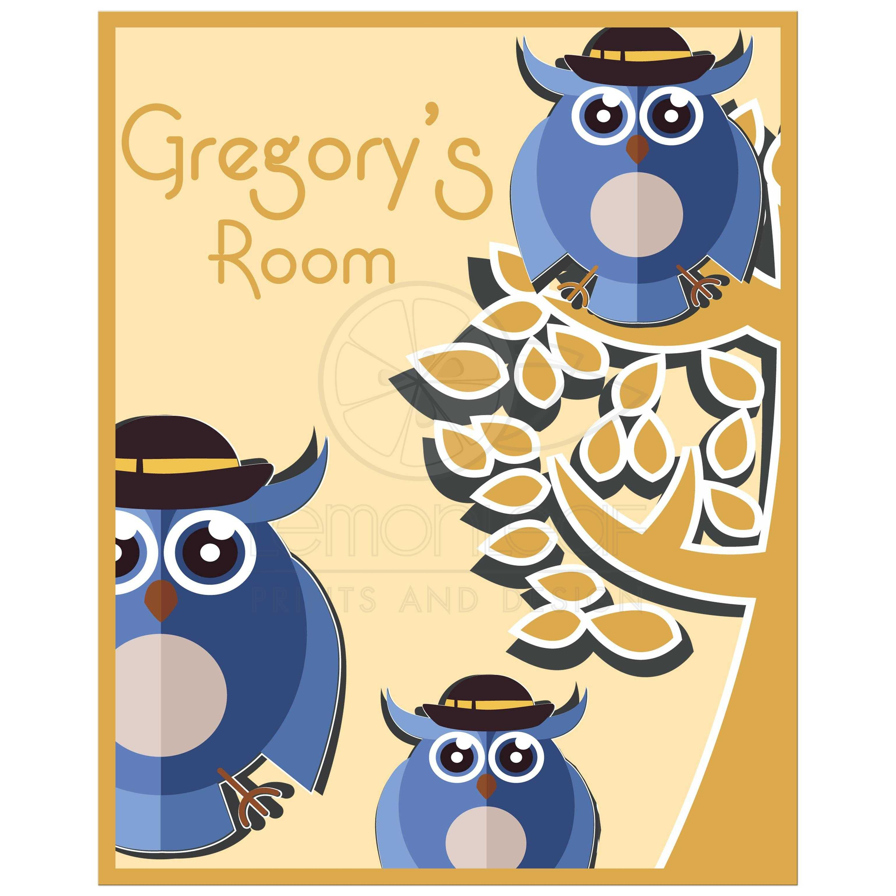 8x10 Cute Tree Owls With Customizable Name Children\'s Room Wall Art