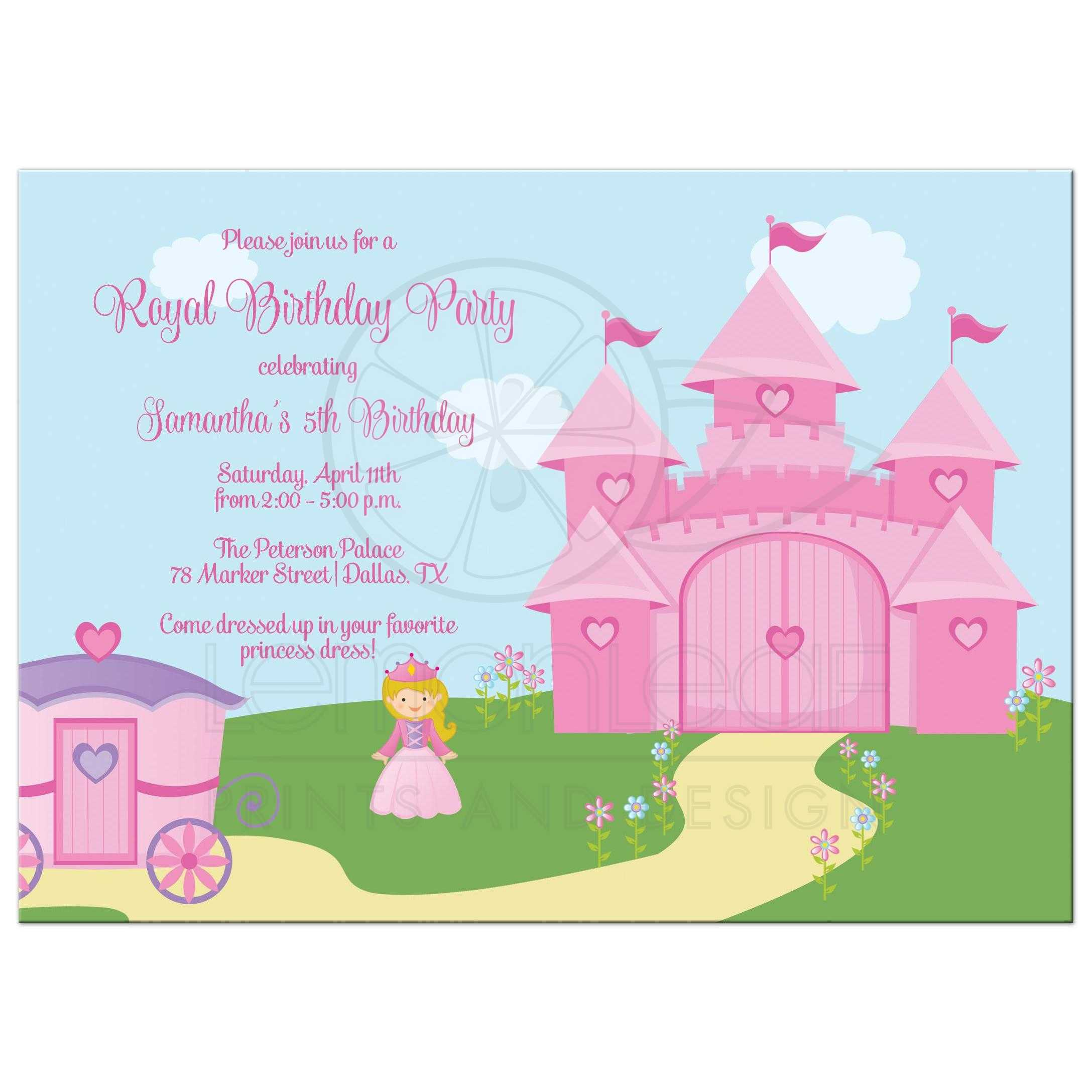 Birthday Party Invitation - Pink and purple princess theme