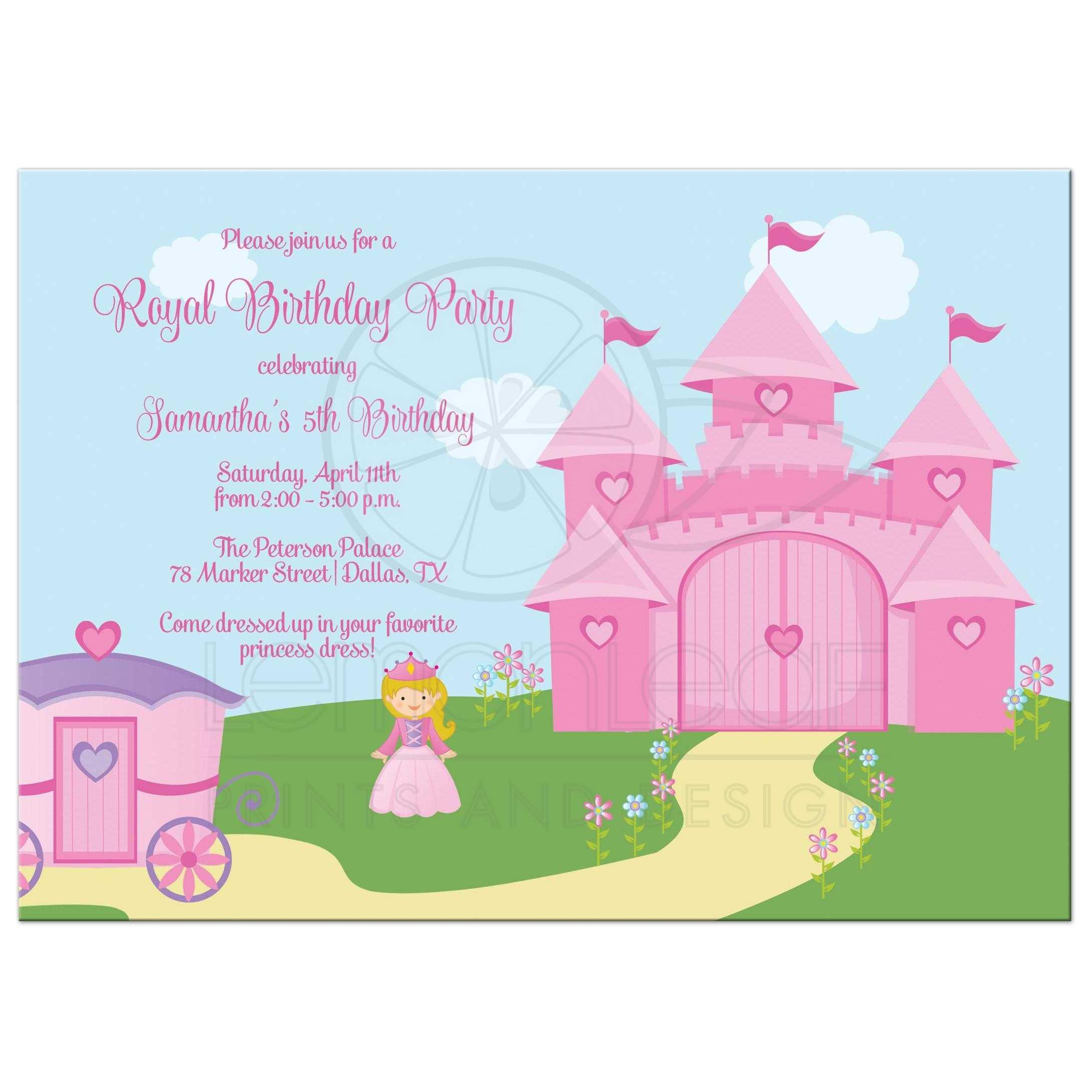 Birthday Party Invitation Pink And Purple Princess Theme