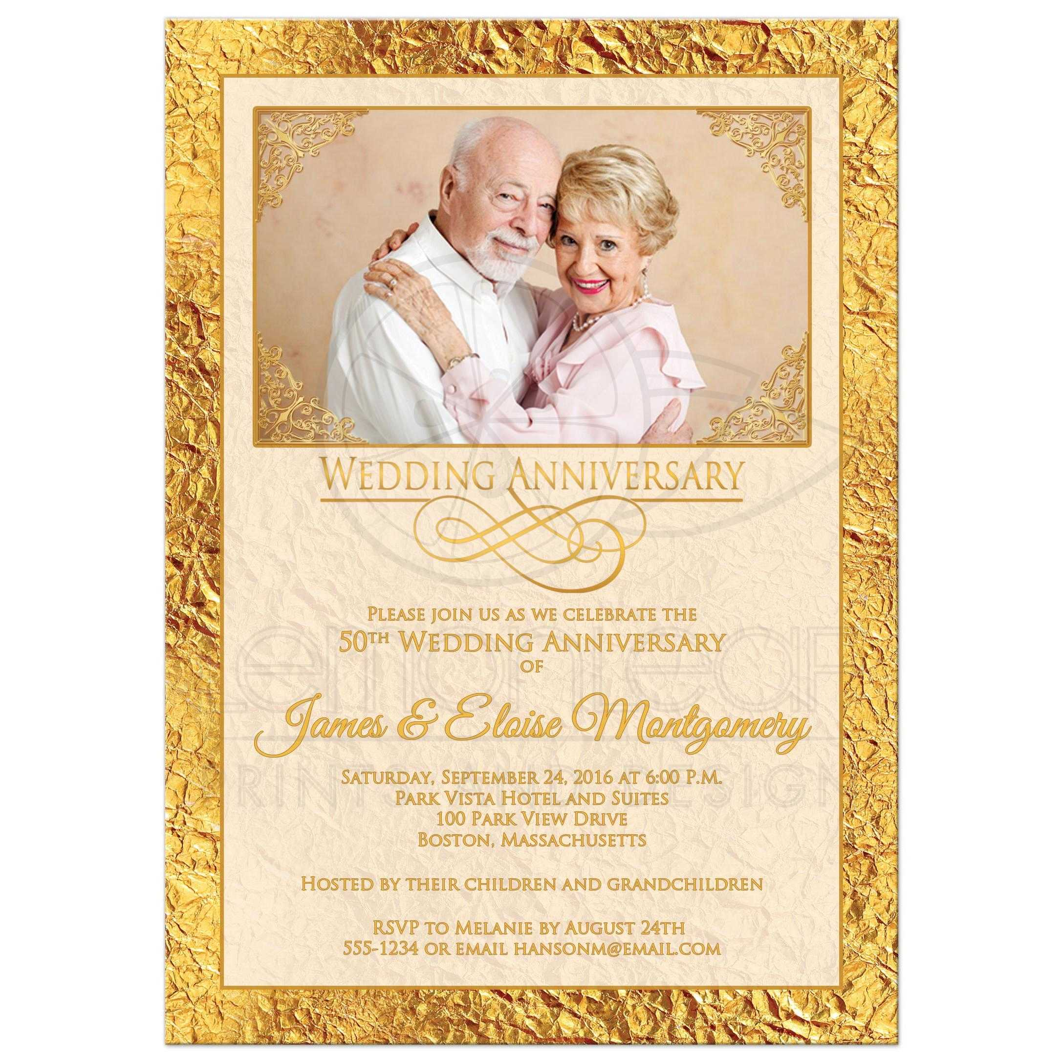 50th Wedding Anniversary Photo Invitation | Ivory, Gold Scrolls ...