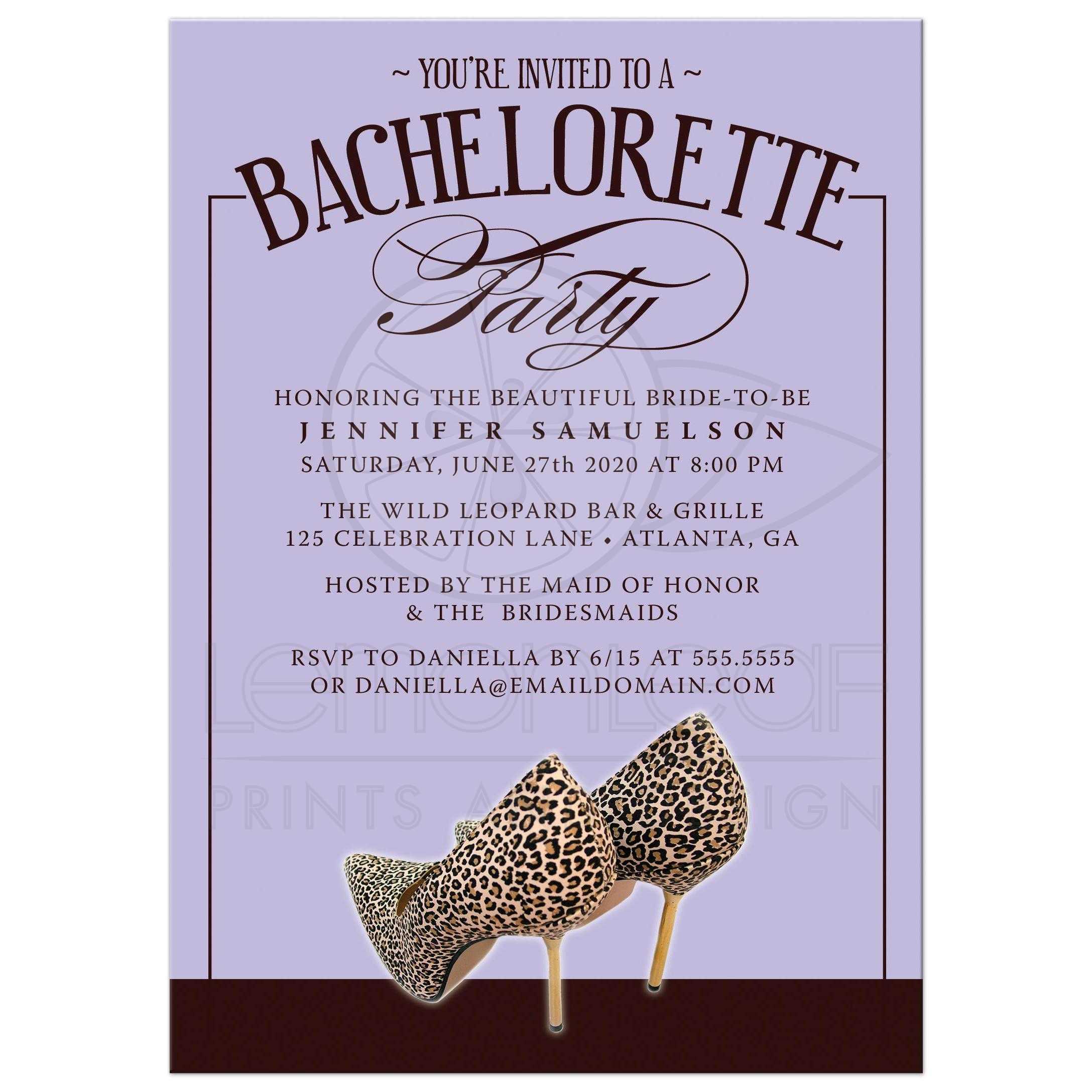 Bachelorette Party Invitations Leopard Print Shoes Lavender