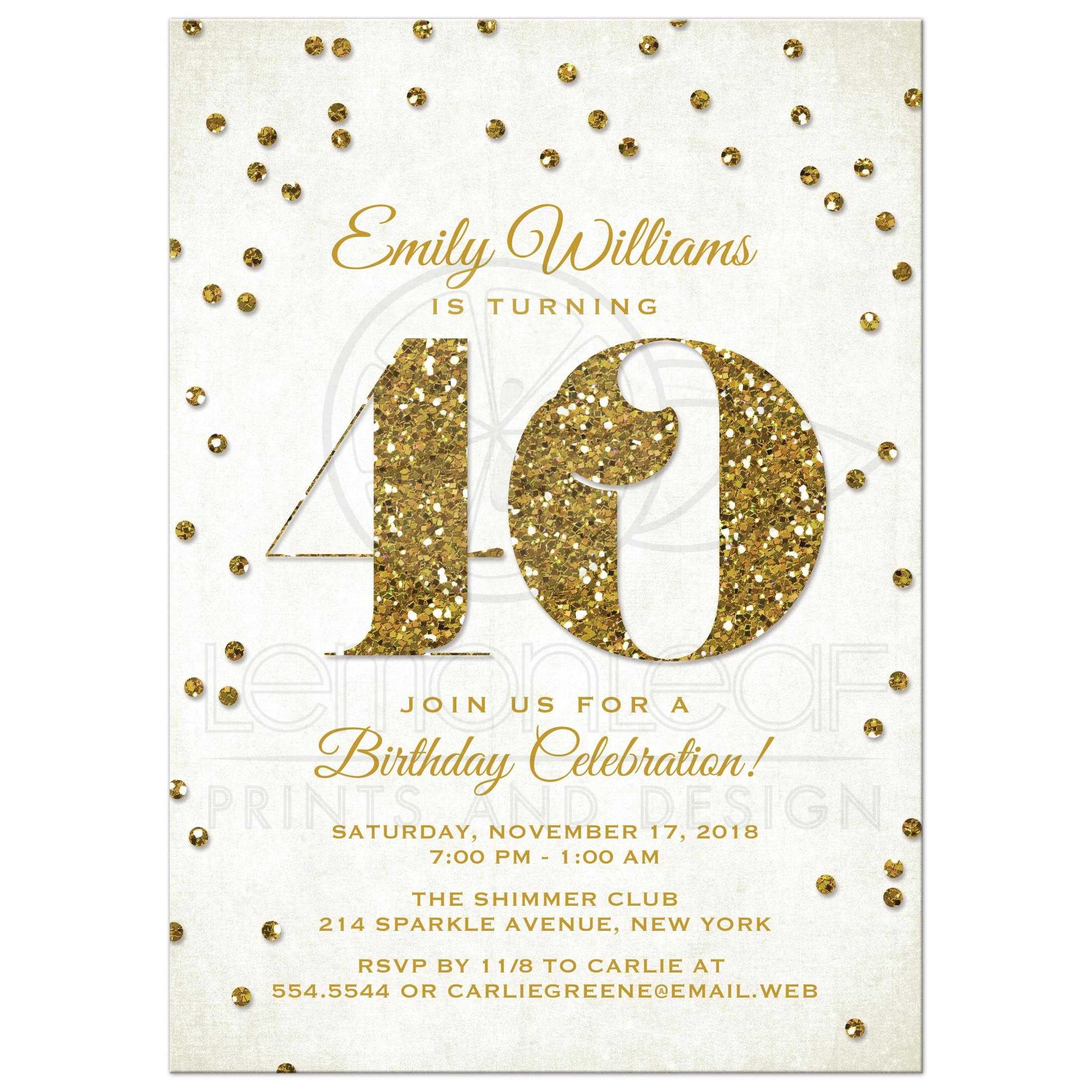 40th Birthday Party Invitations - Gold Glitter Look Confetti