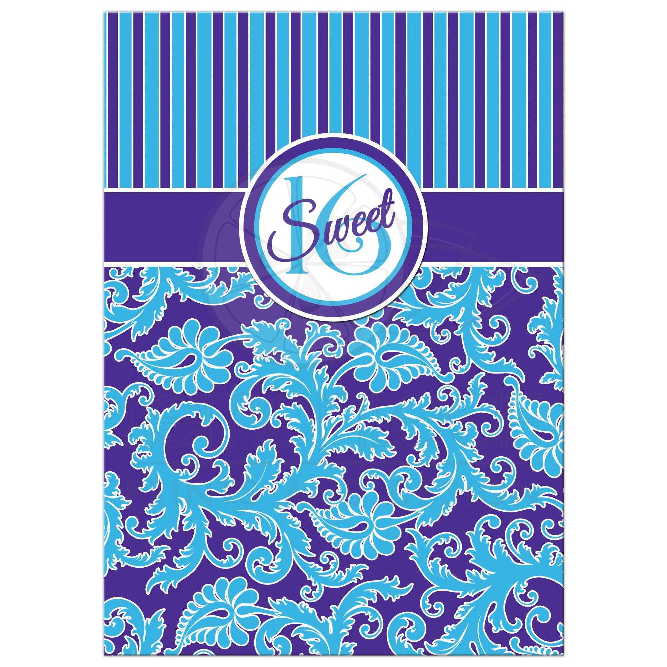 Sweet 16 Birthday Party Invitation In Blue And Purple Striped Damask