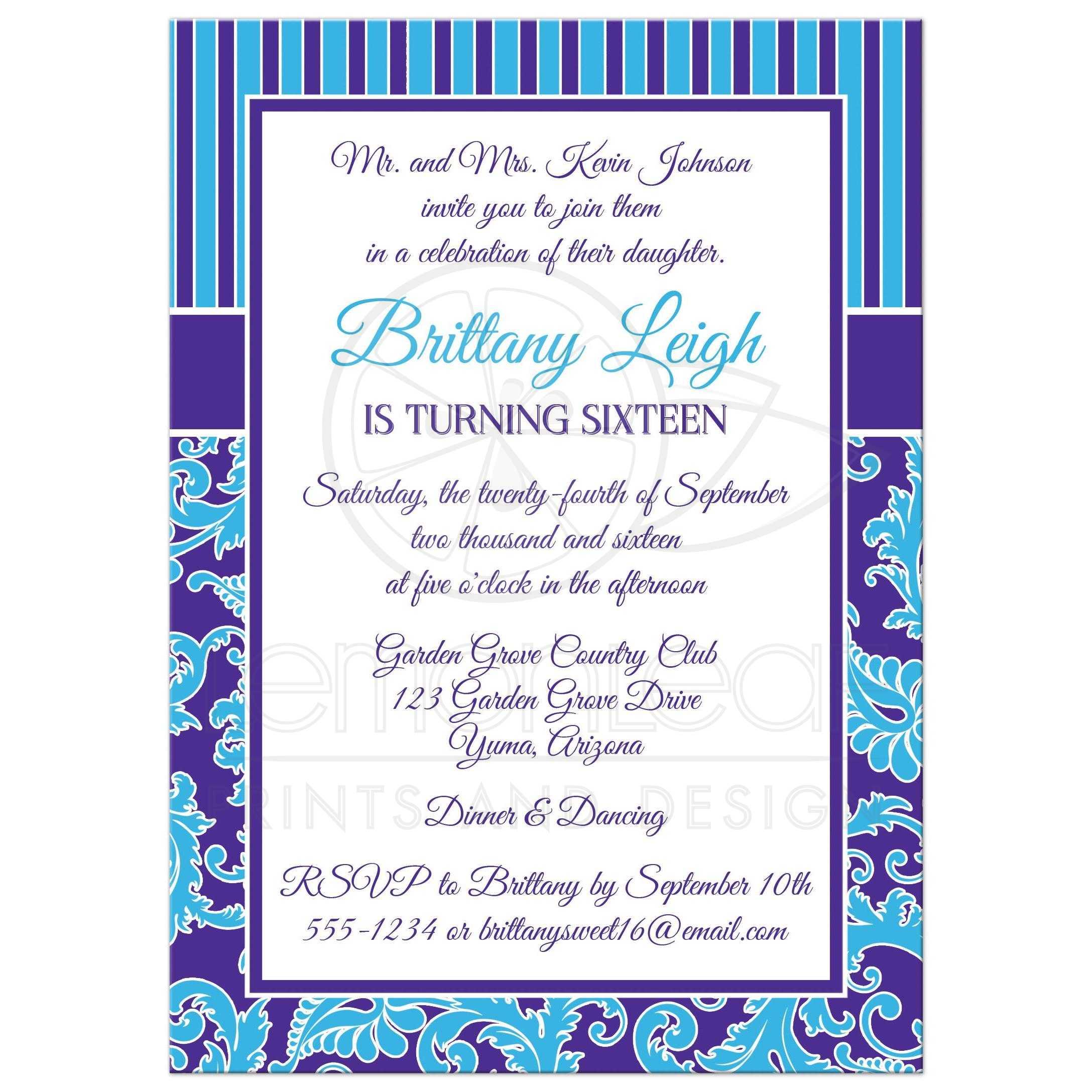 Sweet 16 Birthday Invitation Turquoise Purple Stripes Floral