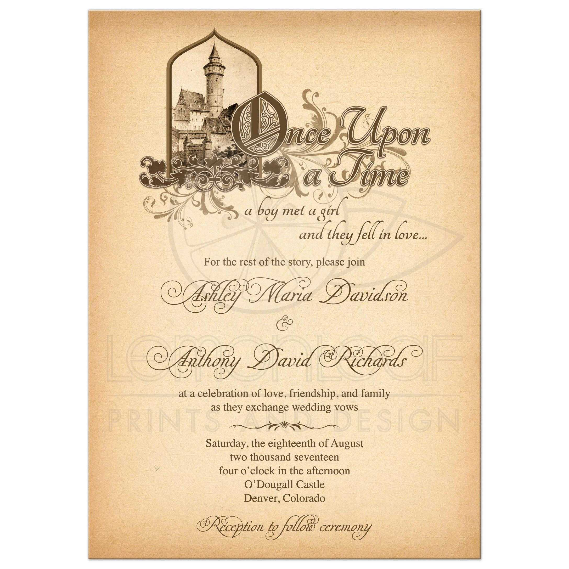 Fairy Tale Wedding Invitation Medieval Castle Once Upon A Time