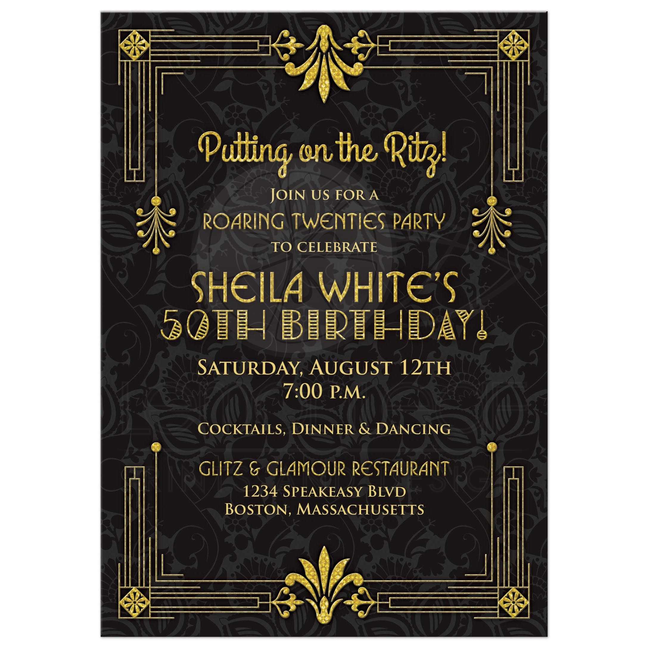 Black And Gold Roaring 20s Twenties Art Deco Style 50th Birthday Invitation Front
