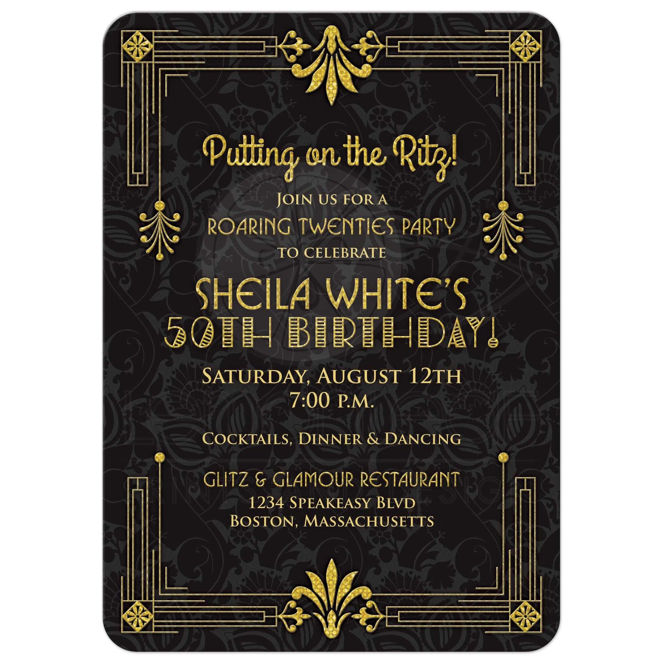 50th birthday invitation roaring 20s art deco black gold