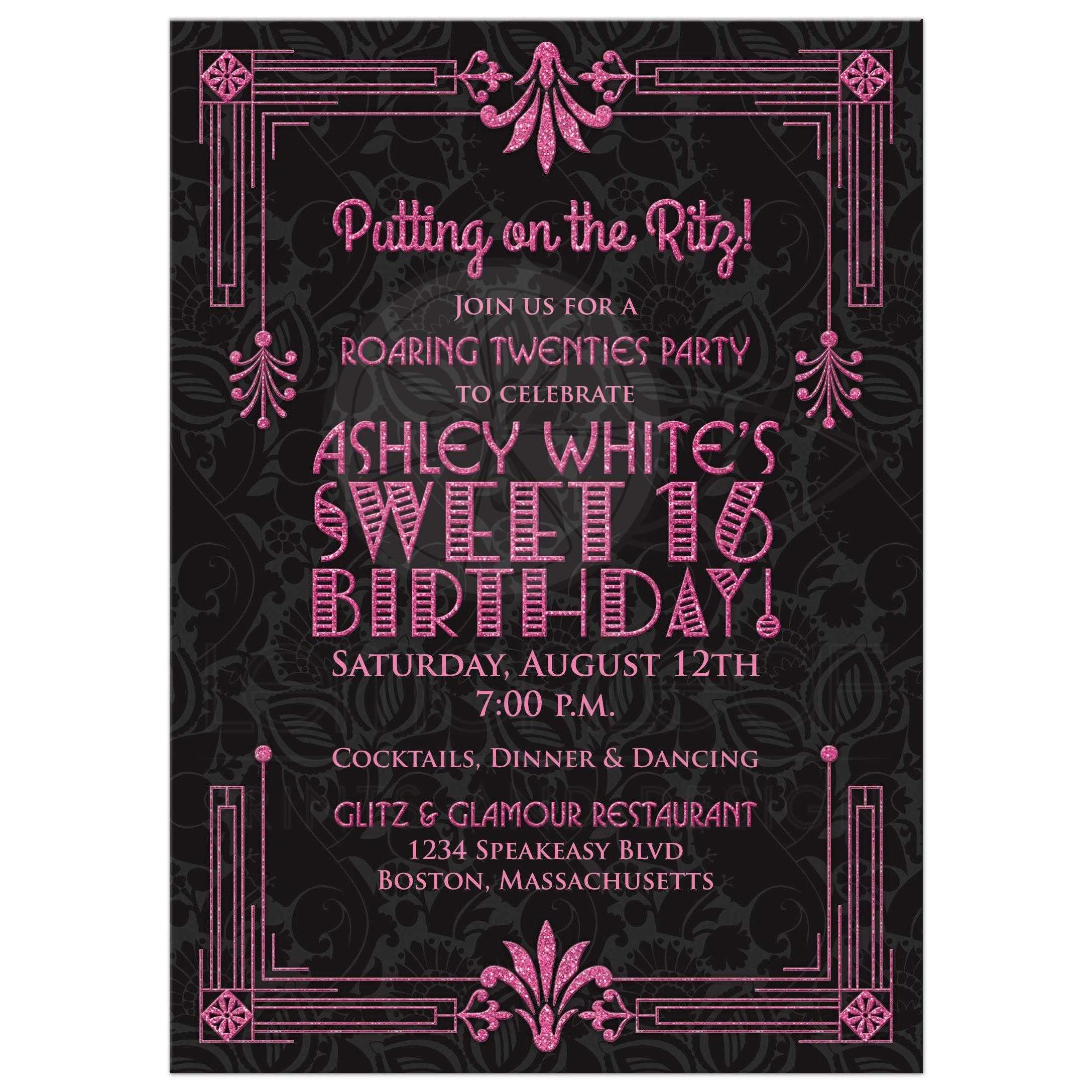 Sweet 16 Birthday Invitation Roaring 20s Art Deco Black Pink