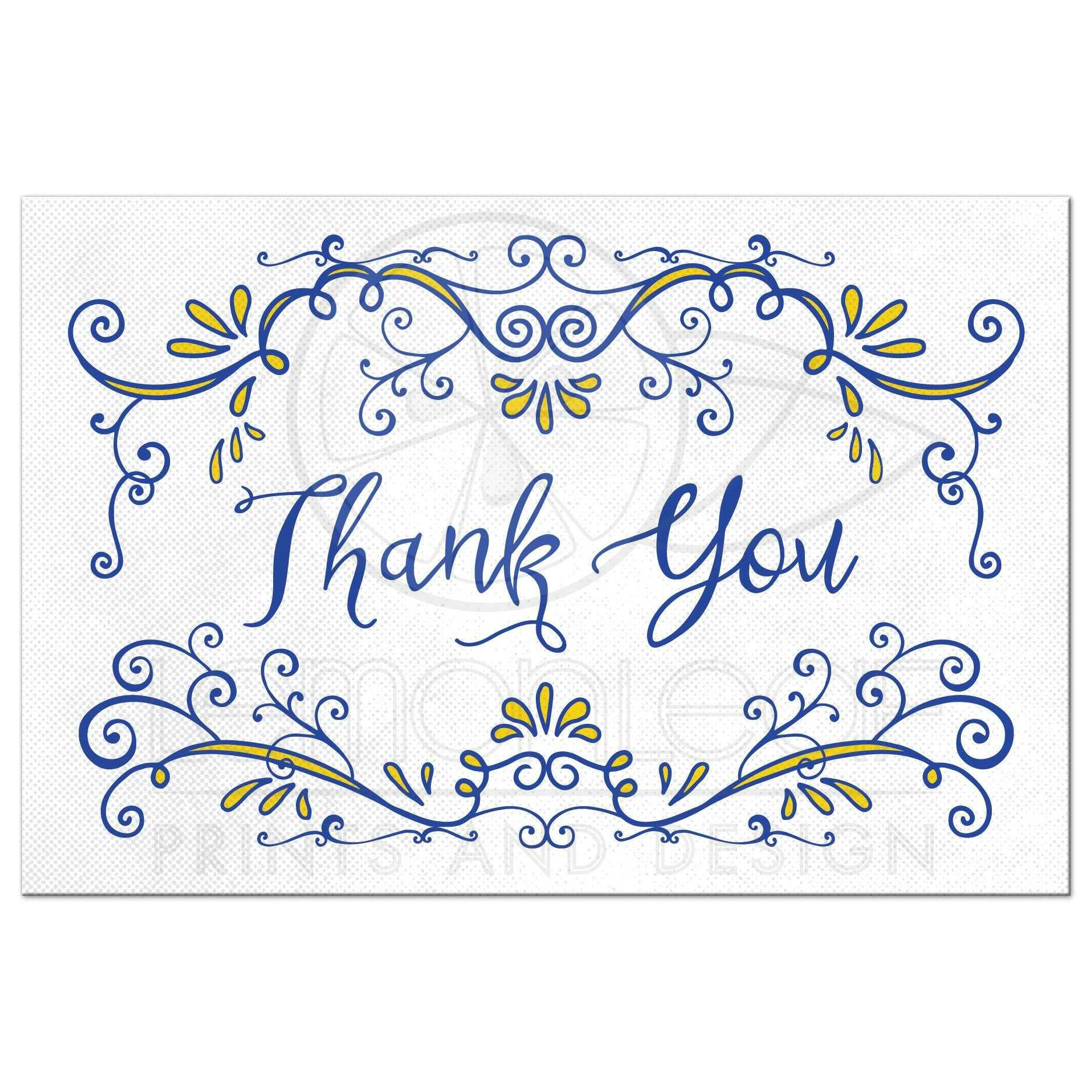 whimsical thank you postcard royal blue yellow vintage flourish