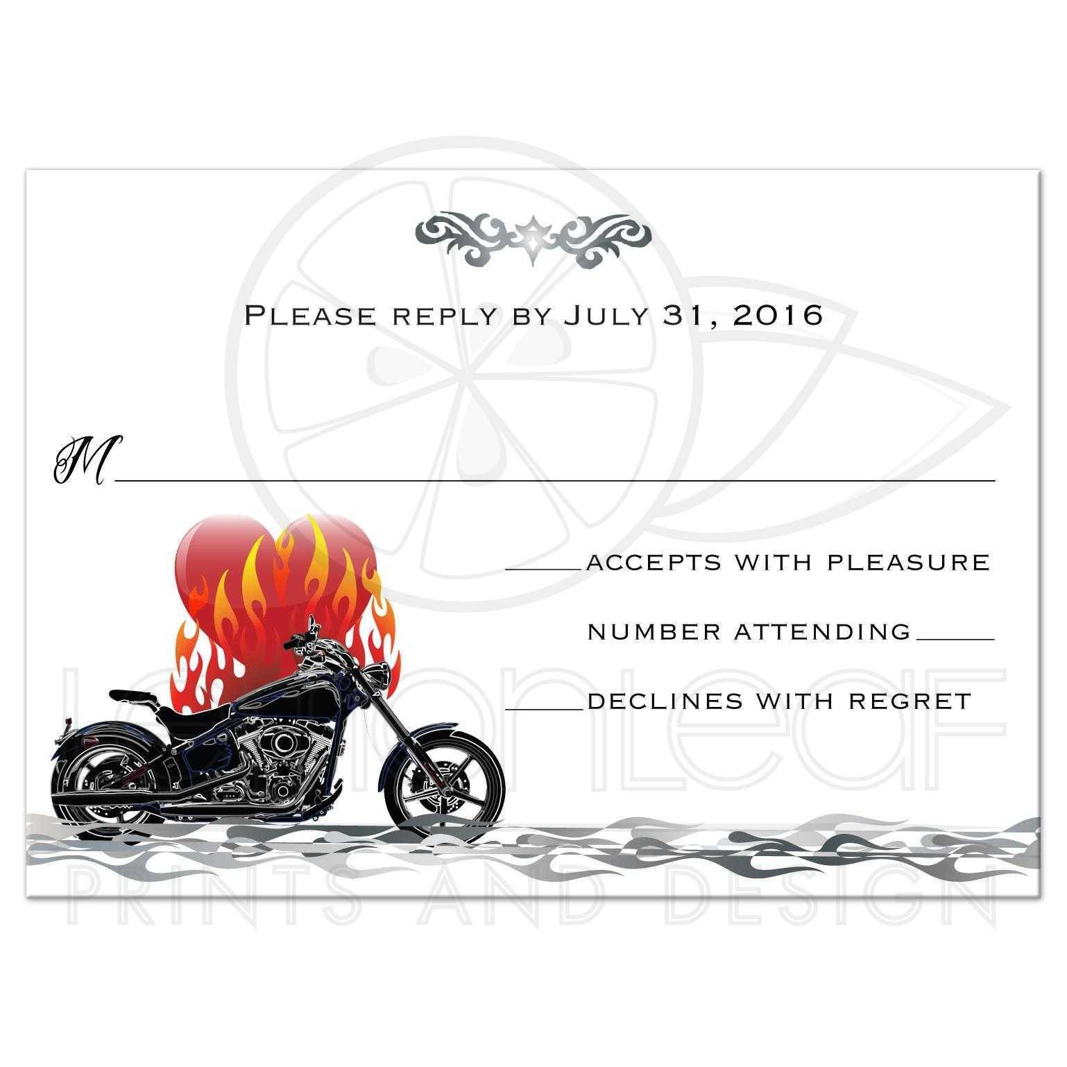 Wedding RSVP Reply Card - Grunge Beams Motorcycle Biker Burning Love