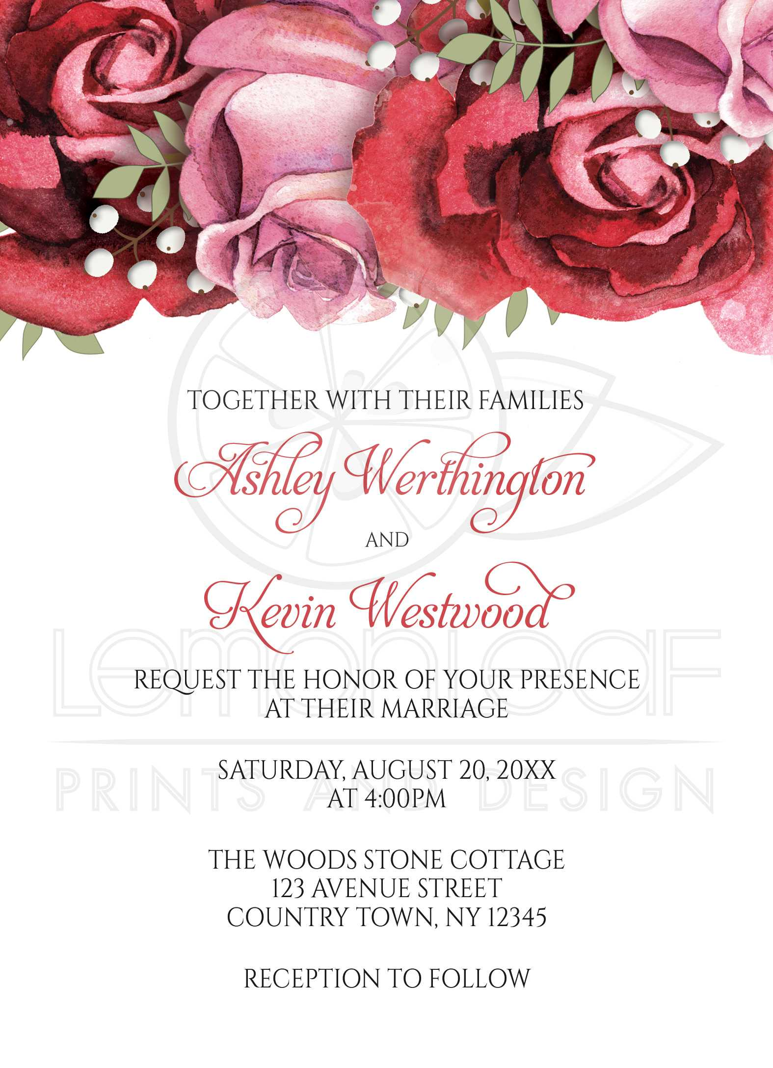 Wedding Invitations Burgundy Red Pink Rose – Pink and Red Wedding Invitations
