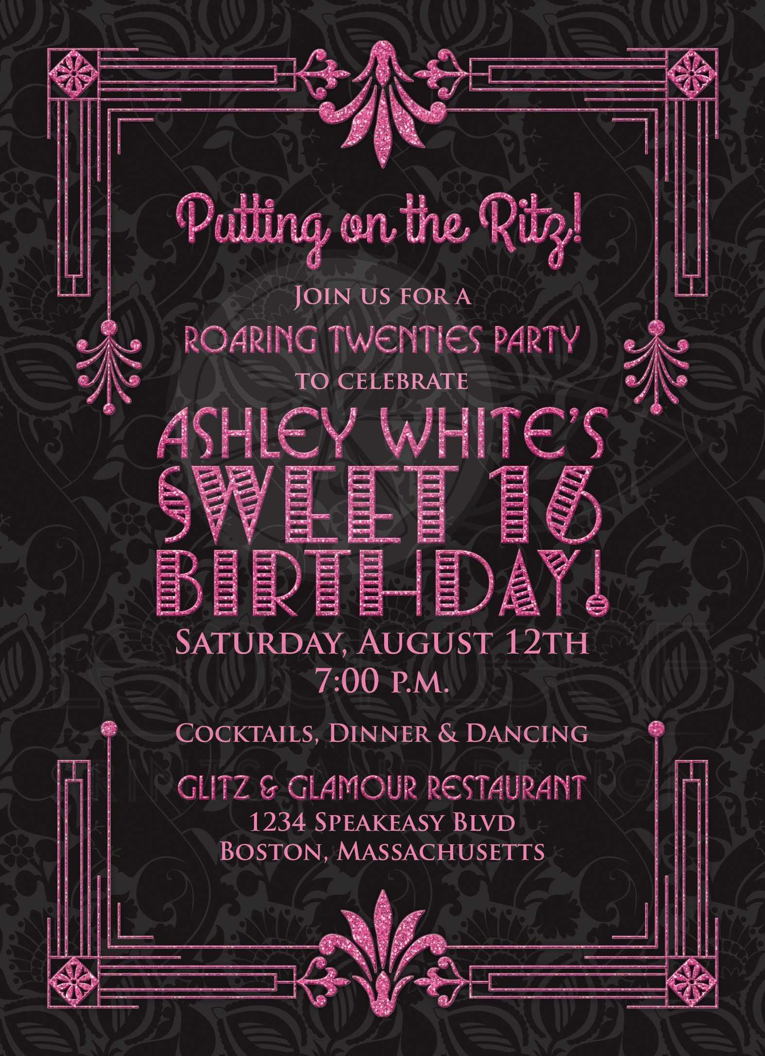 Sweet 16 Birthday Invitation   Roaring 20s Art Deco Black Pink