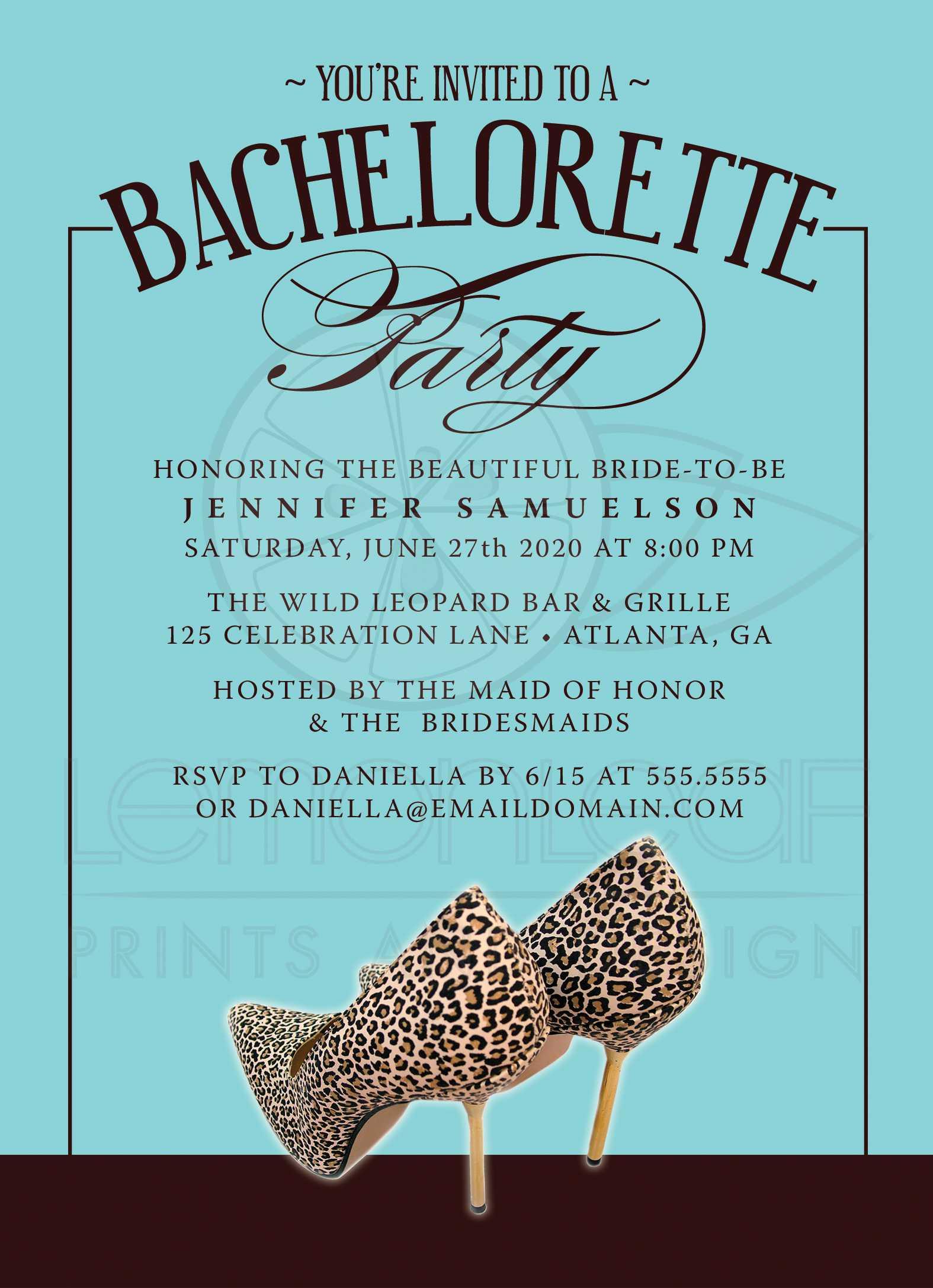 Bachelorette Party Invitations Leopard Print Shoes Turquoise