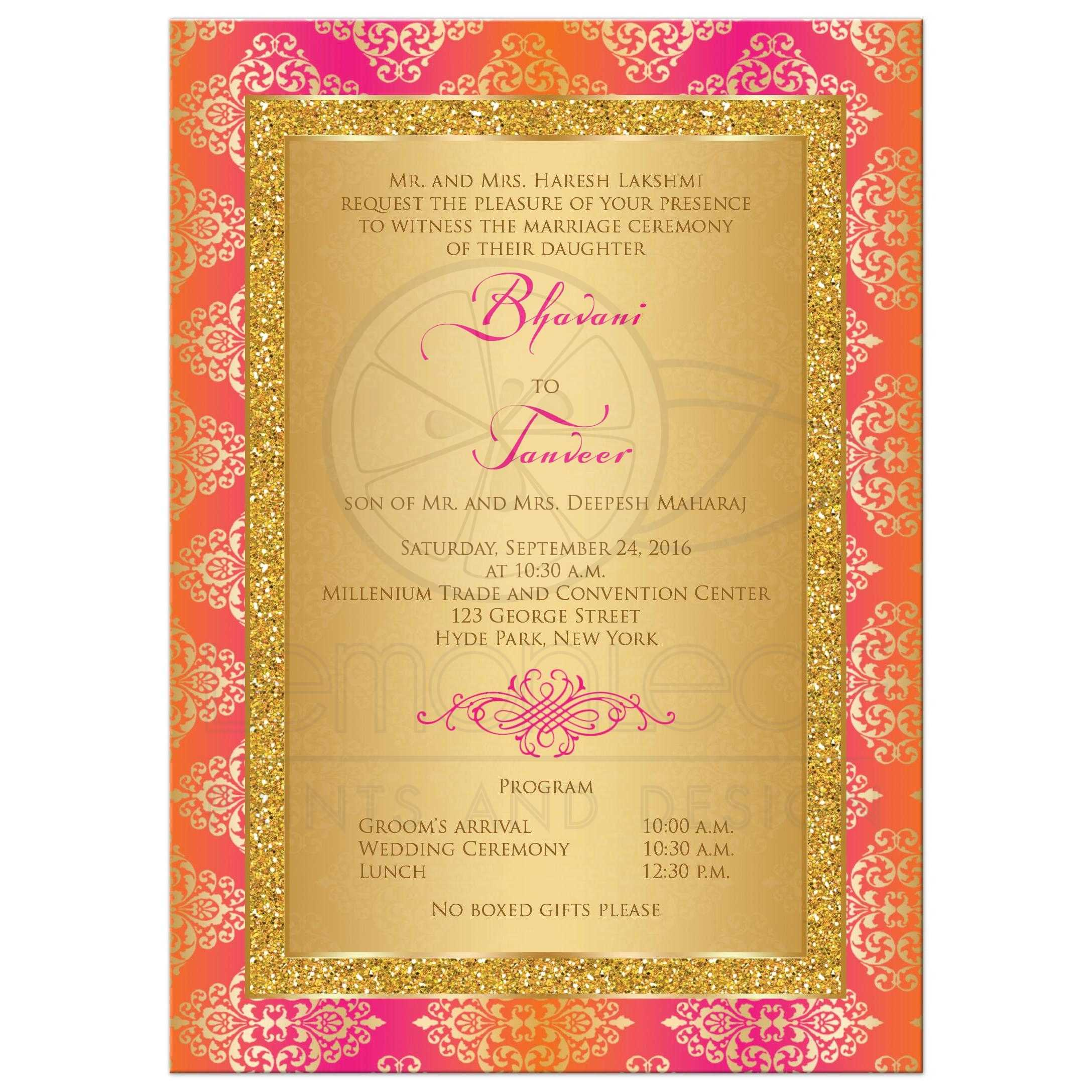 Wedding Invitation | Fuchsia, Orange, Gold Damask | Faux Gold ...