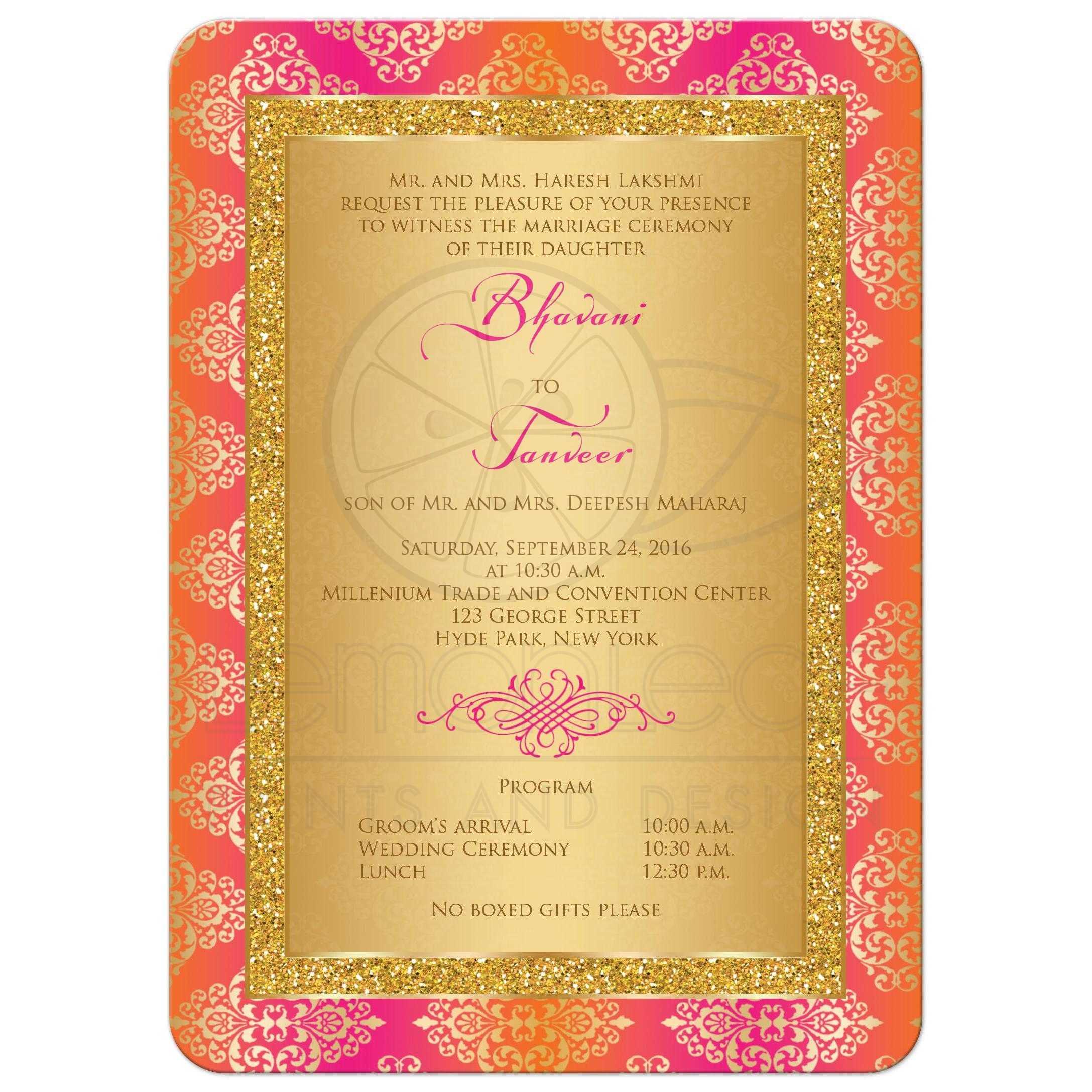Wedding Invitation | Fuchsia, Orange, Gold Damask | Faux Gold ...