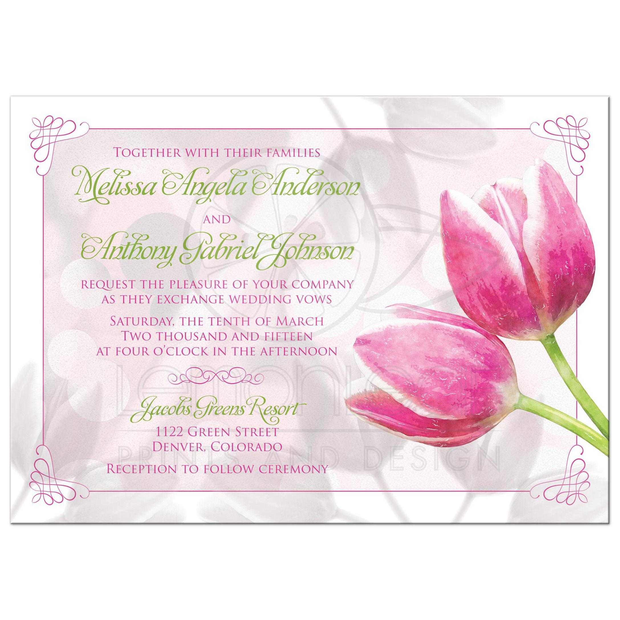 Spring Wedding Invitation Pink Tulip Flowers