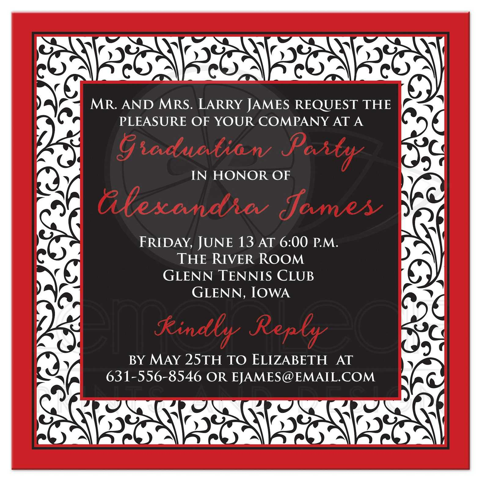 Photo graduation invitation chic red black white chic and trendy red black and white floral pattern photo graduation invitation back filmwisefo