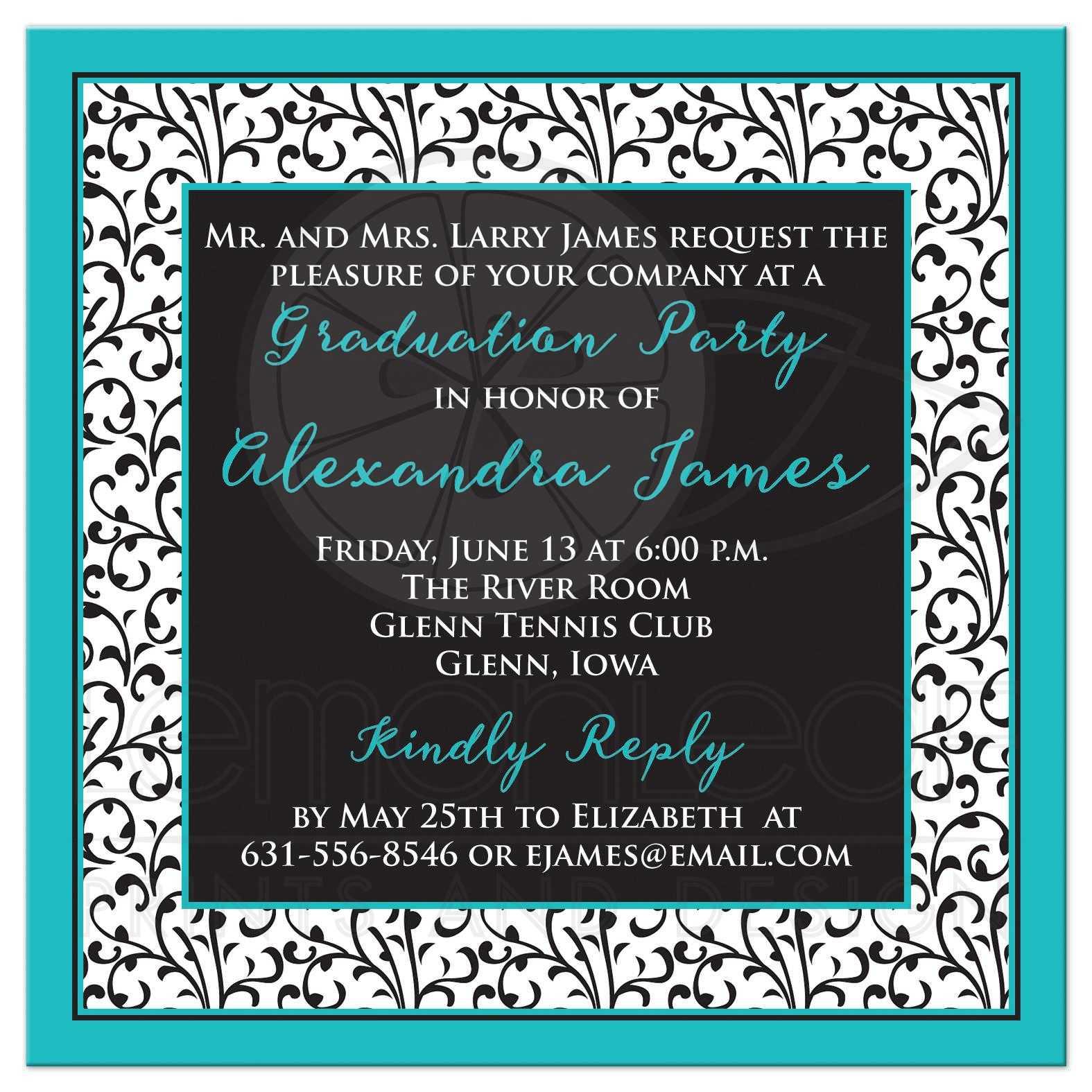 Photo graduation invitation chic turquoise black white and trendy turquoise black and white floral damask pattern photo graduation invitation filmwisefo Choice Image