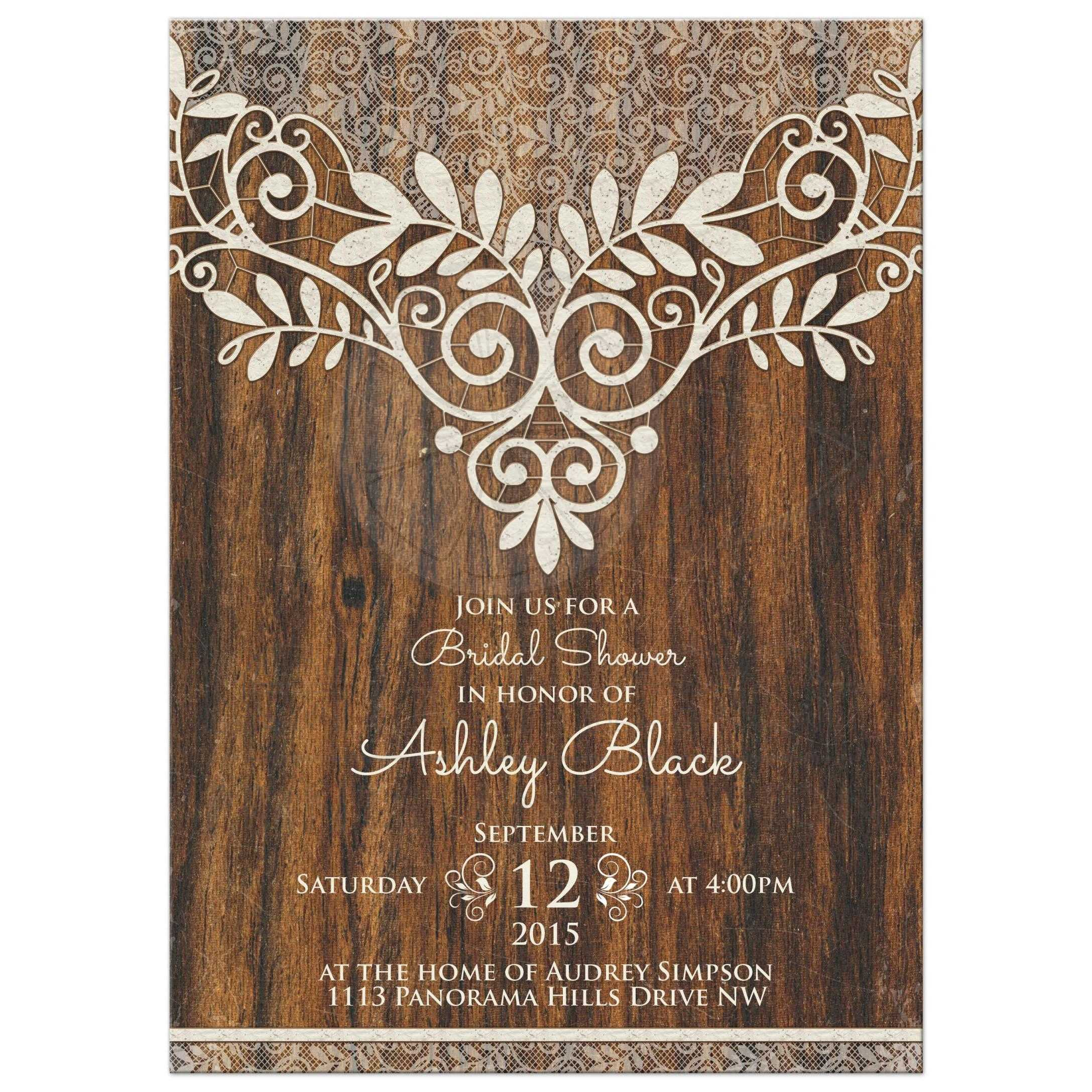 rustic bridal shower invitation ivory lace wood