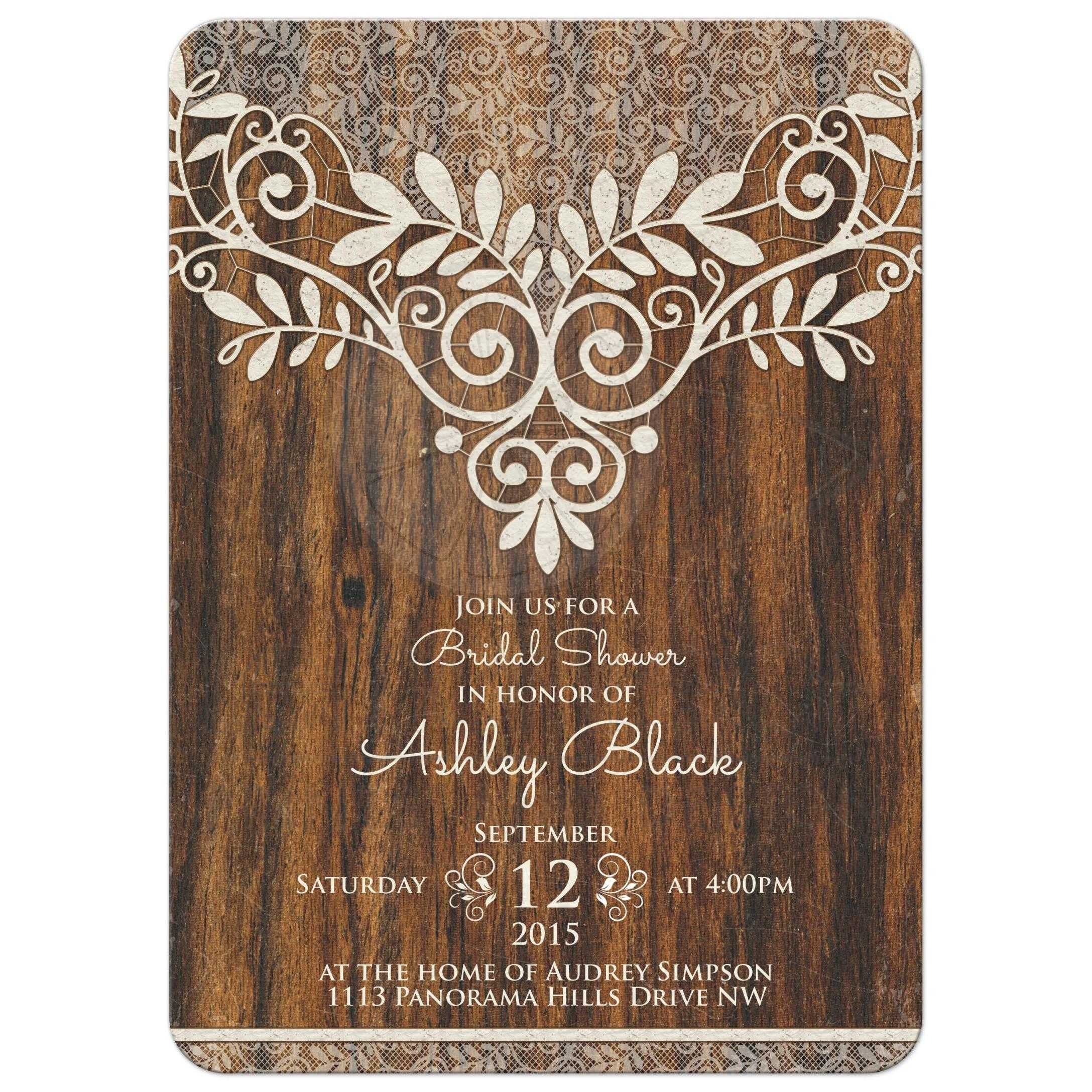 ... Rustic Ivory Lace And Wood Trendy Bridal Shower Invitation Front ...