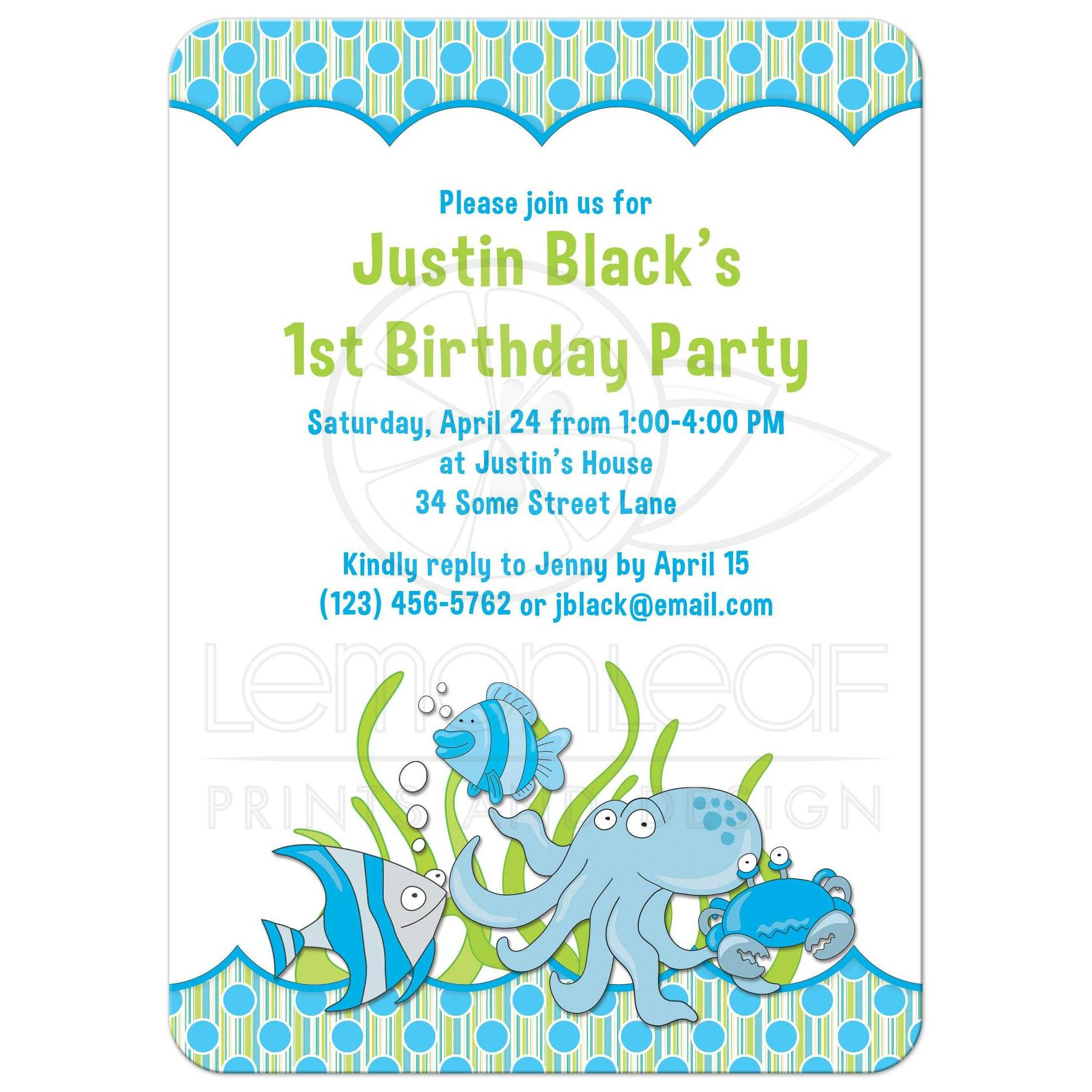 1st Birthday Invitation Under The Sea Ocean Blue
