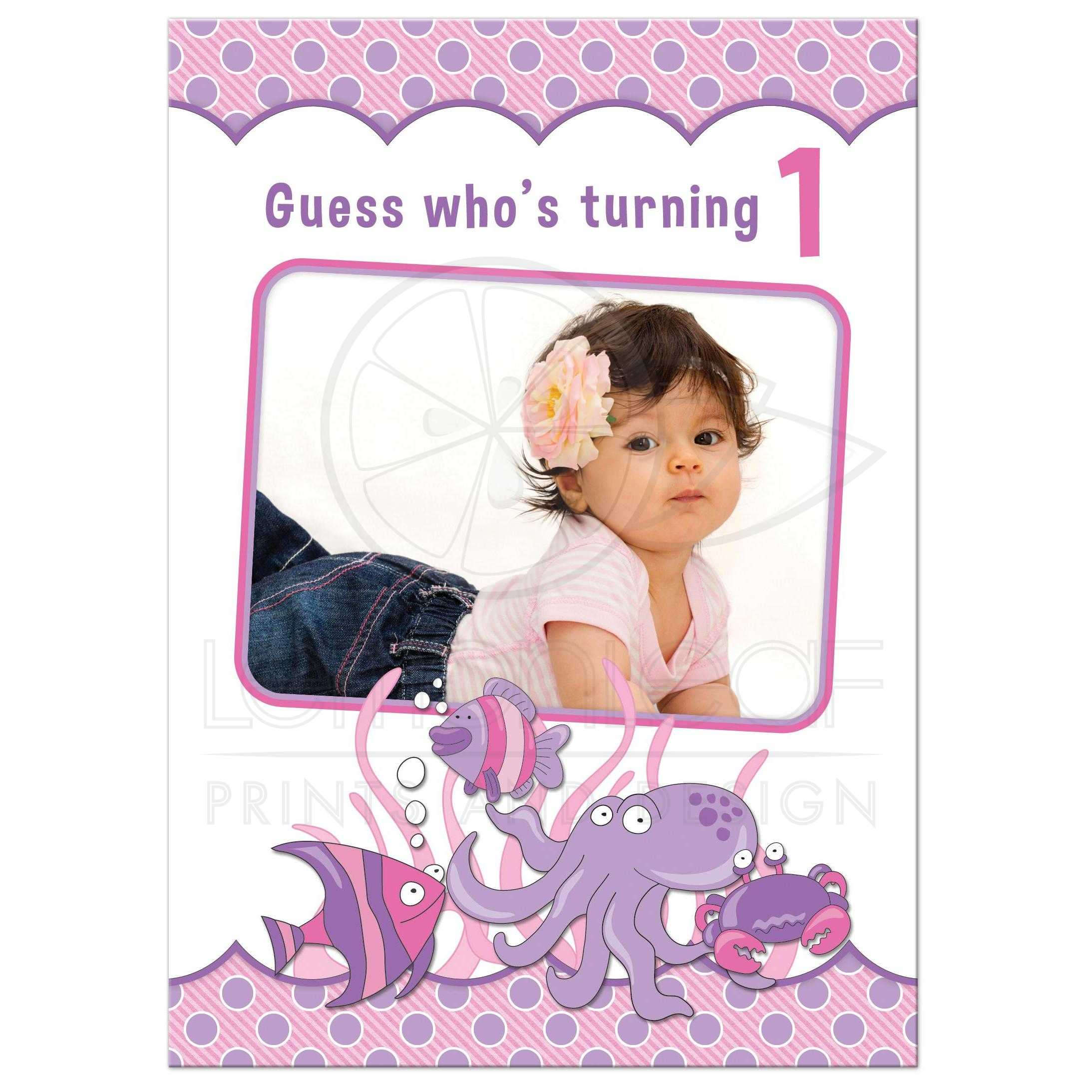 1st Birthday Invitation Under the Sea Ocean Pink