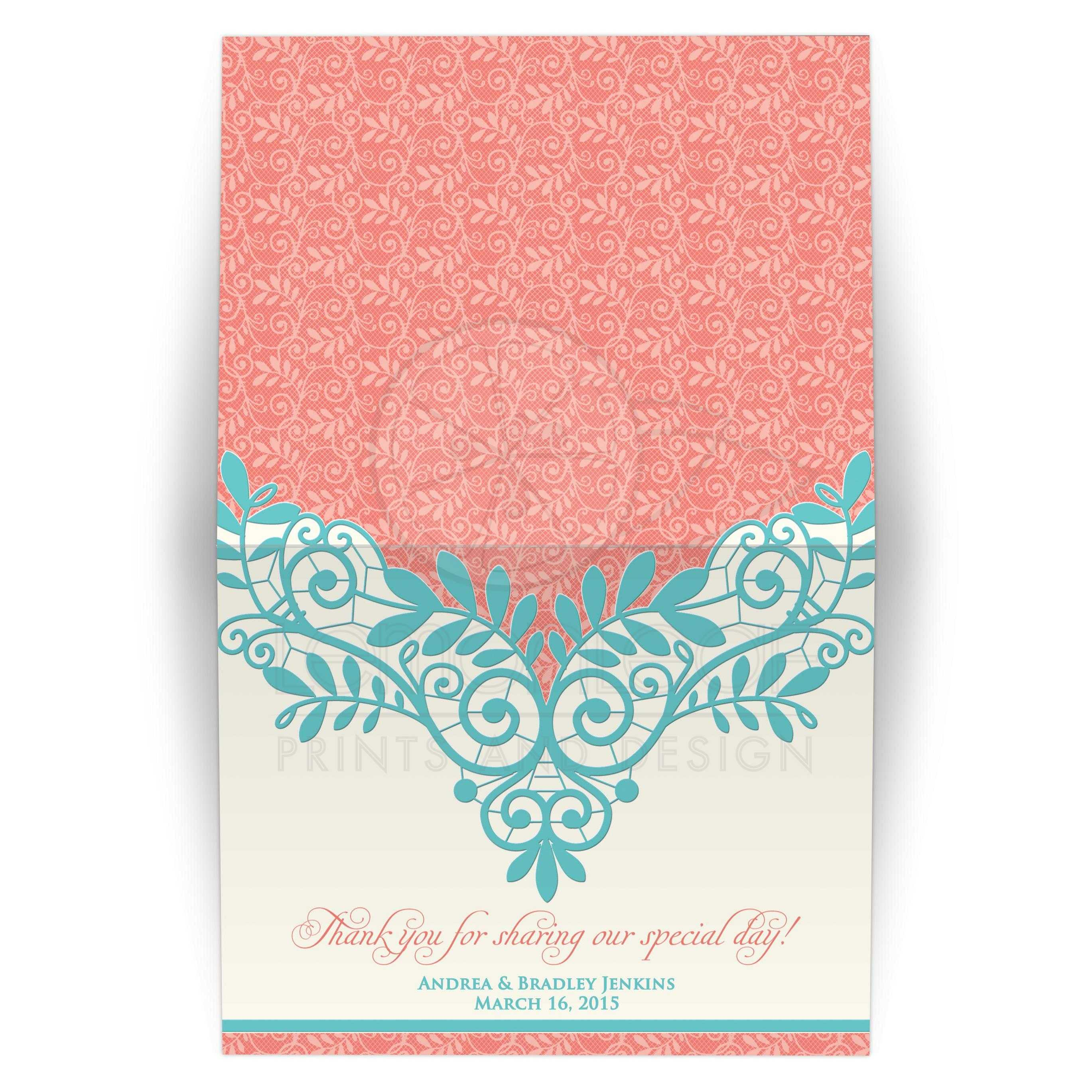 Wedding Thank You Card Vintage Lace Coral Turquoise