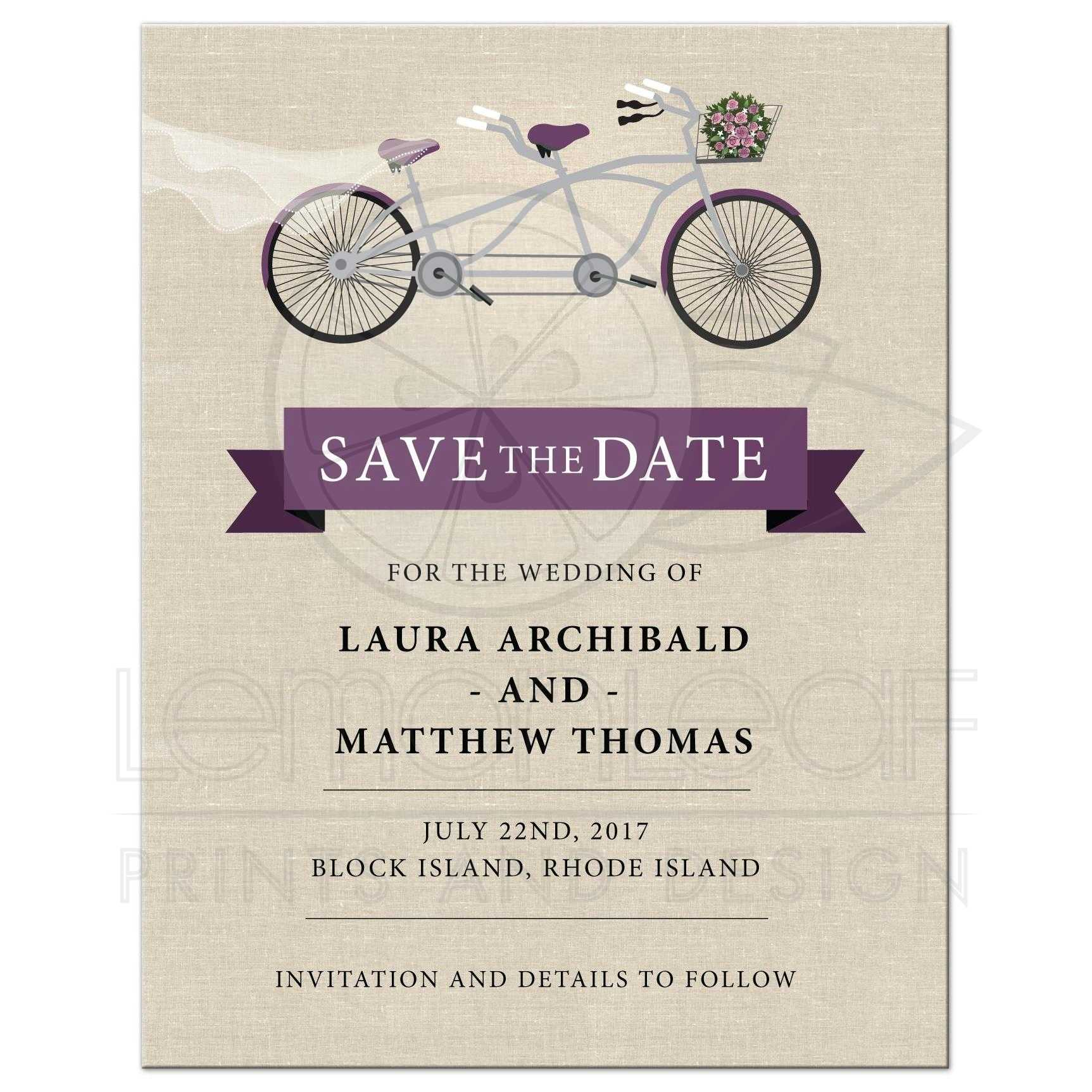Save the Date Card - Plum Tandem Bicycle Wedding