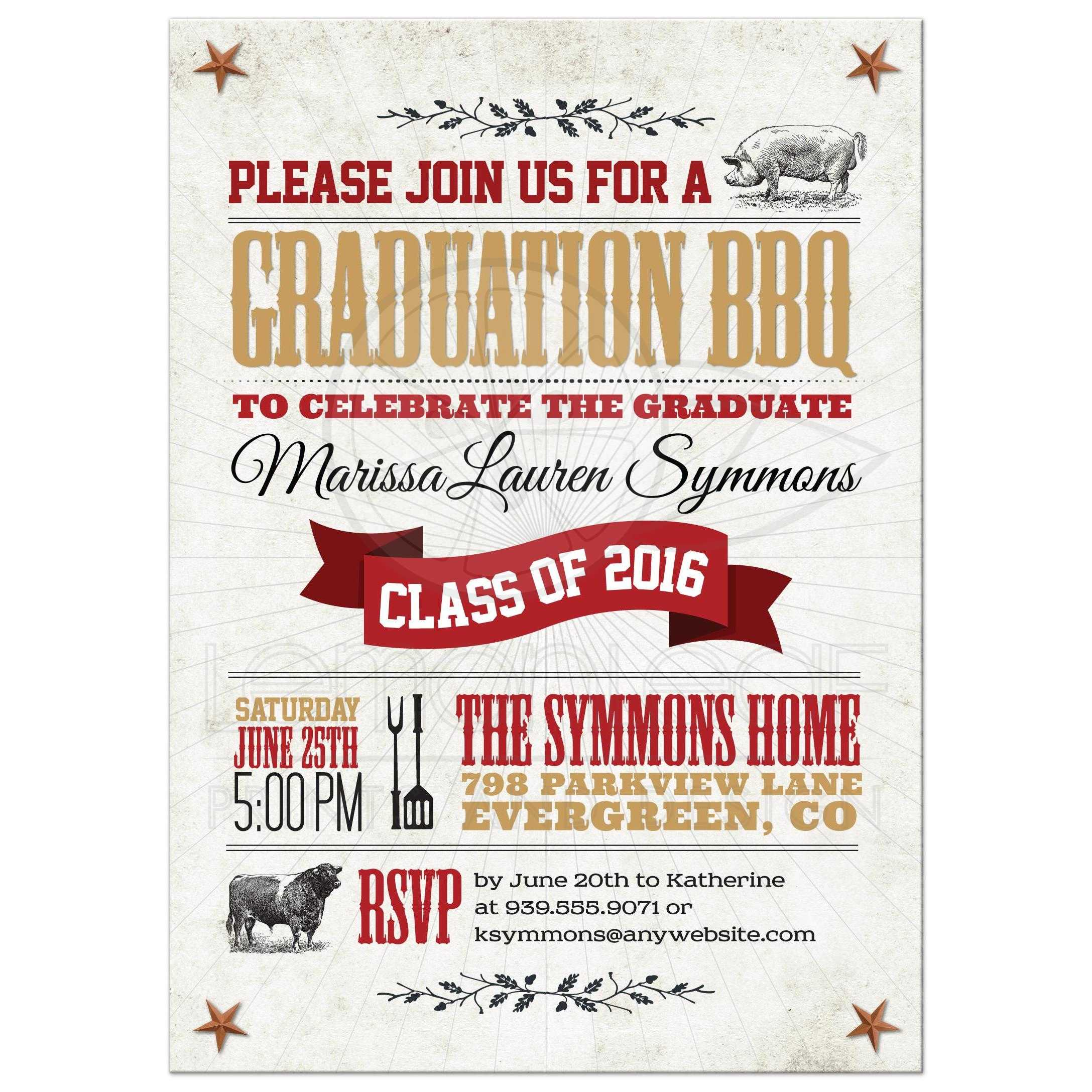 graduation party invitation rustic bbq pig and cow tan red