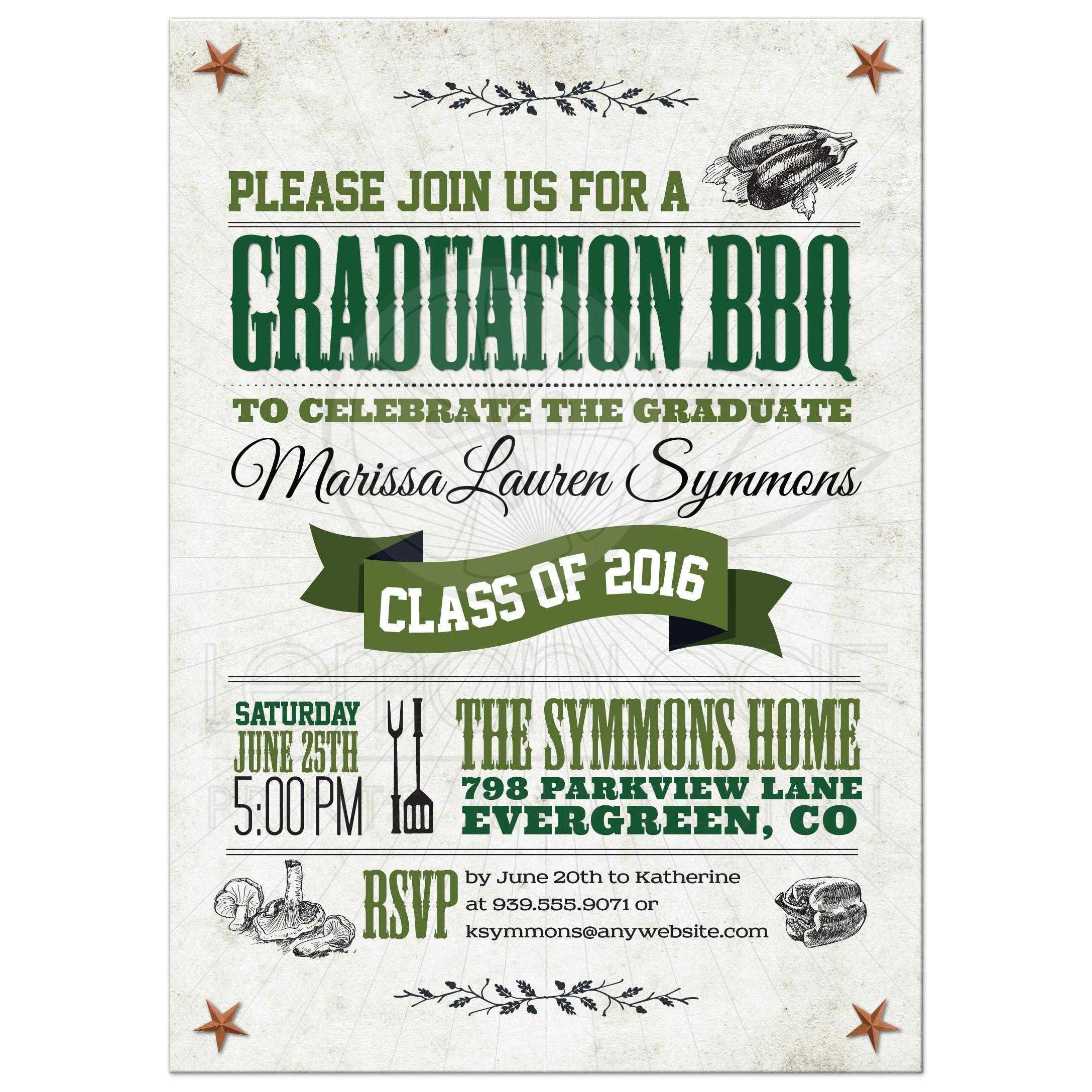 Graduation Party Invitation Rustic Vegetarian Vegan BBQ Green Brown