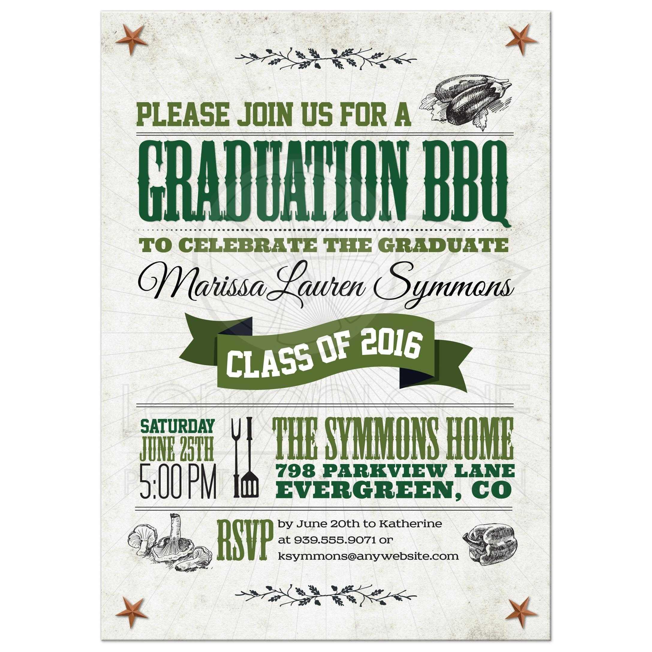graduation party invitation rustic vegetarian vegan bbq green brown