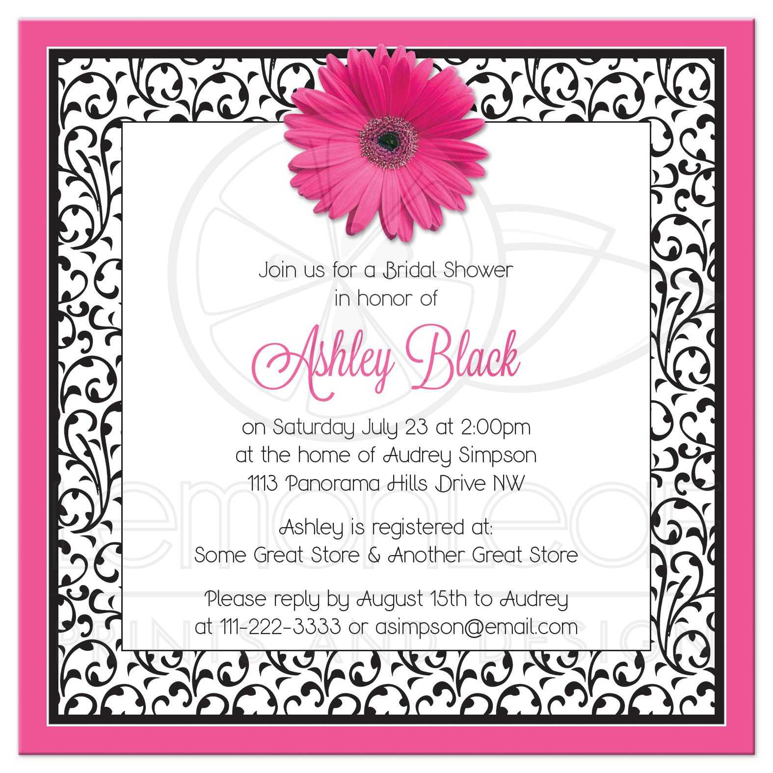 black and white floral gerber daisy flower bridal shower invitation back