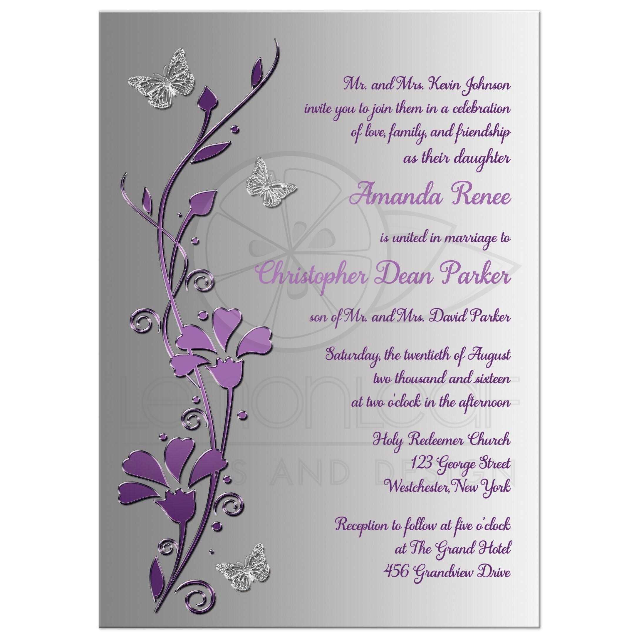 Purple And Silver Wedding Invitations: Purple, Plum, Silver