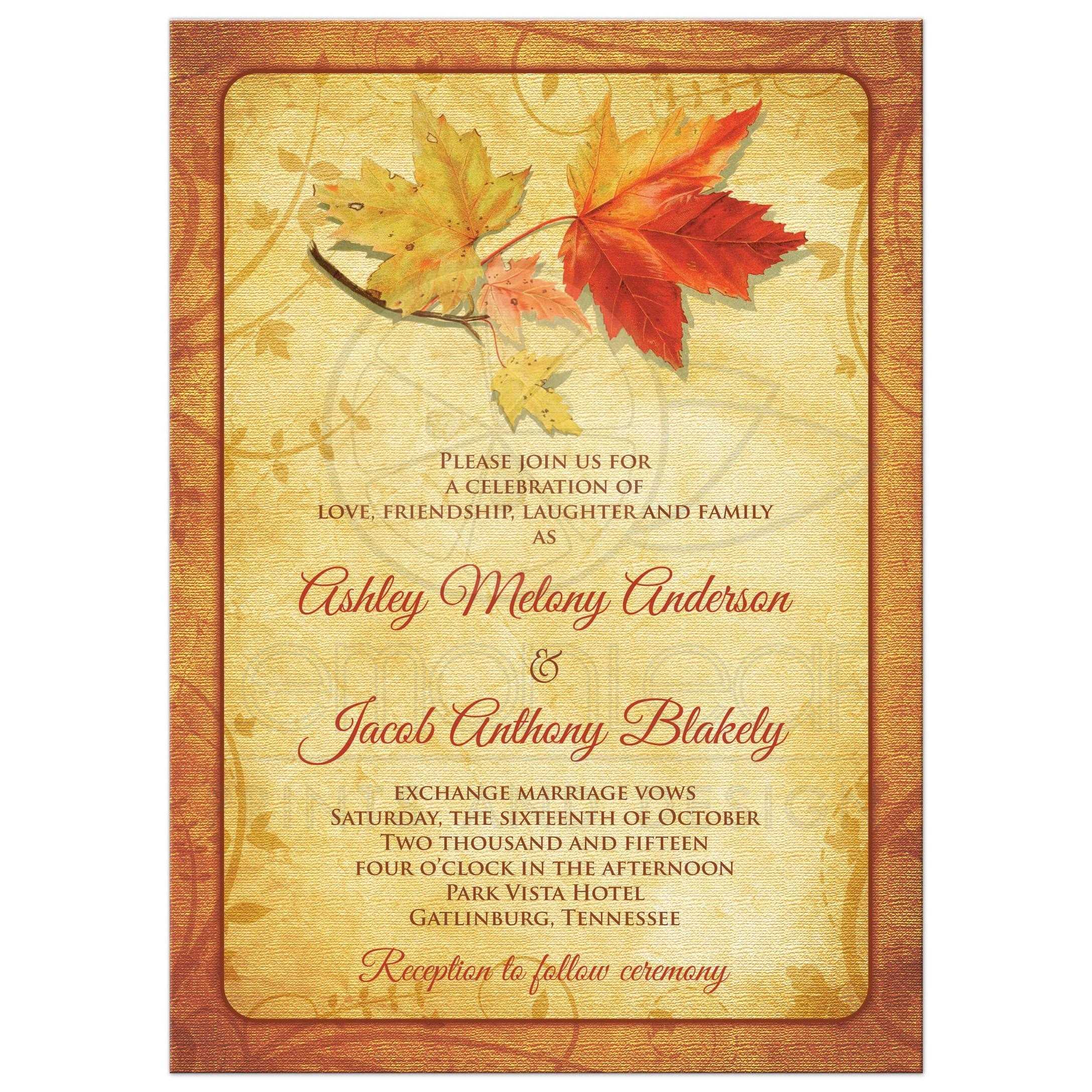Fall Wedding Invitation Maple Leaves Autumn