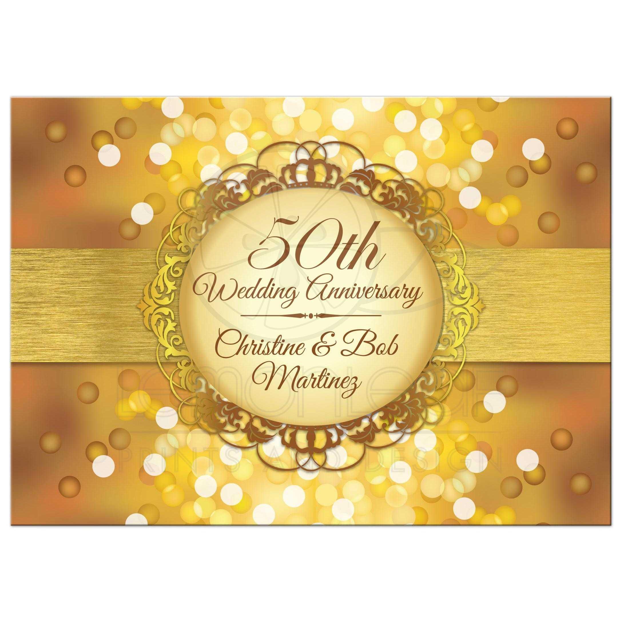 Anniversary party invitation golden anniversary bokeh medallion stopboris Image collections