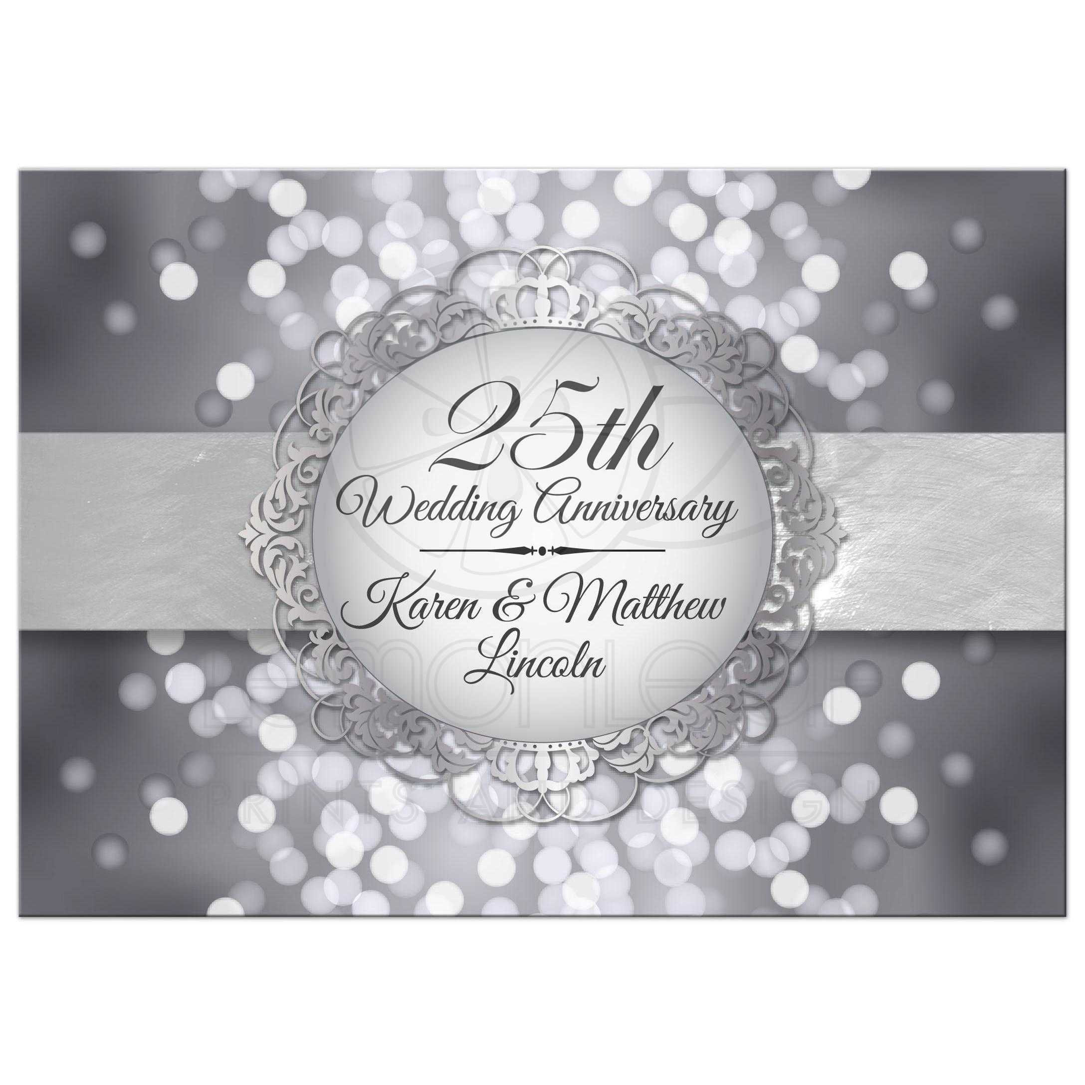Party Invitation - Silver Anniversary Bokeh Medallion