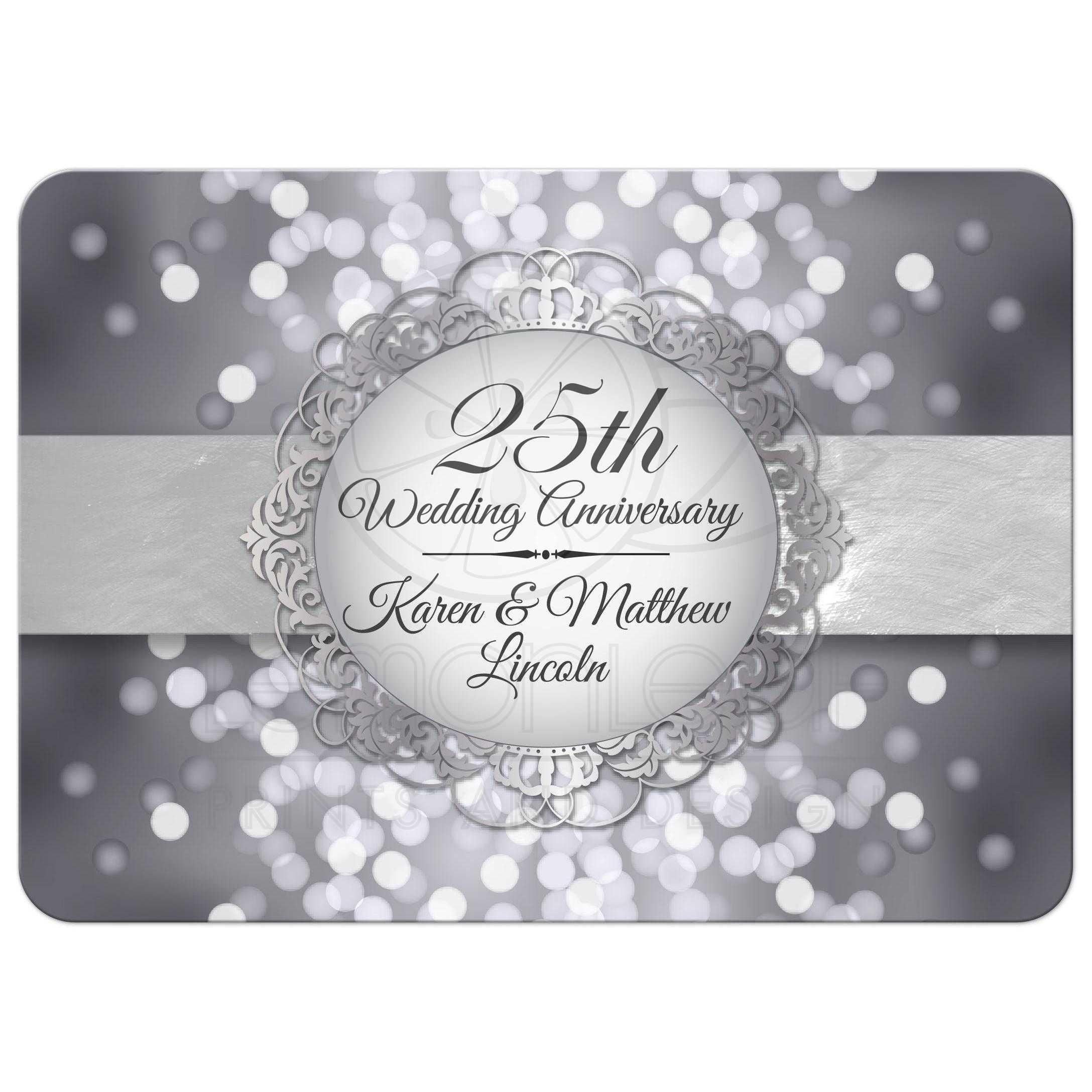 Anniversary Party Invitation - Silver Anniversary Bokeh Medallion