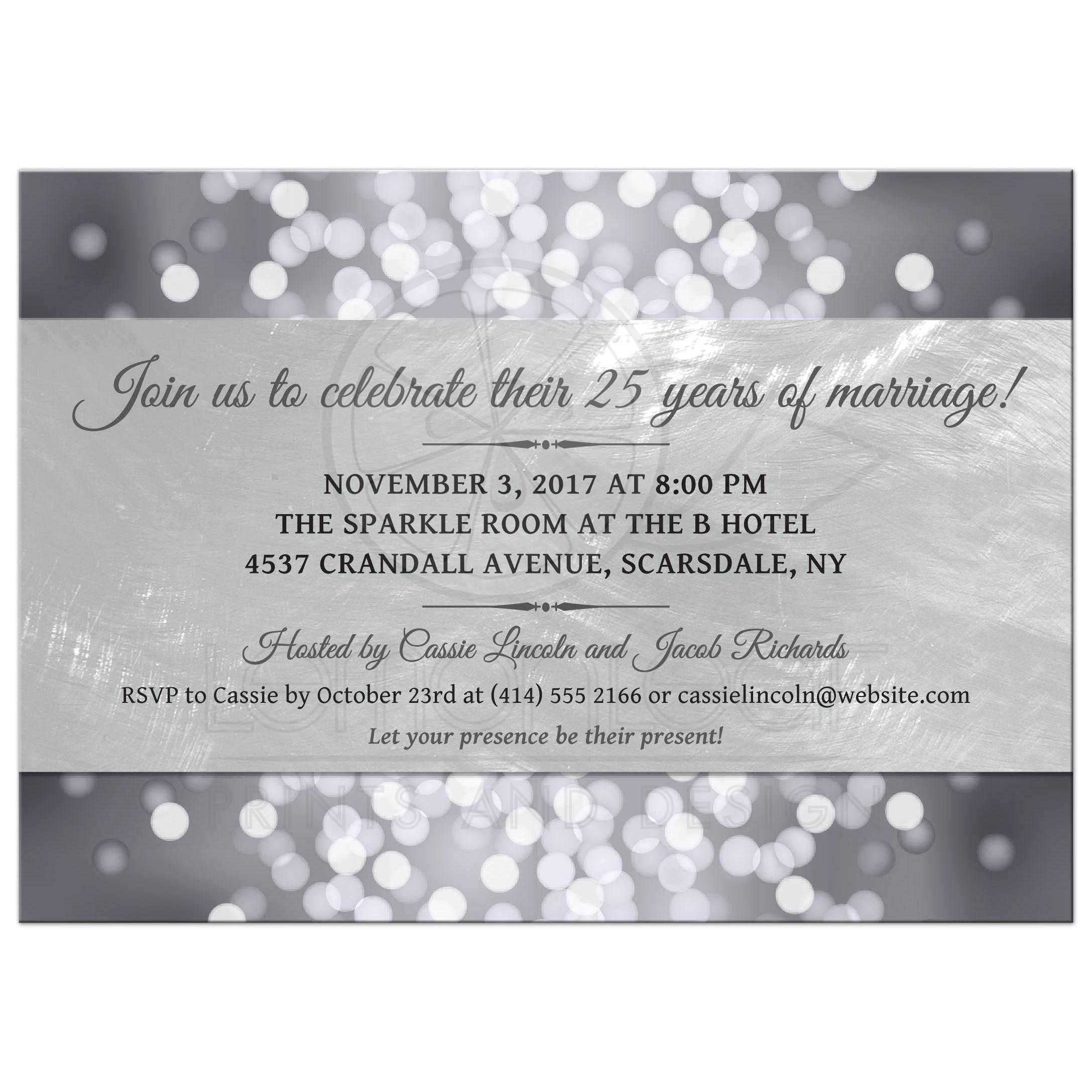 Party Invitation Silver Anniversary Bokeh Medallion – 25th Anniversary Party Invitations
