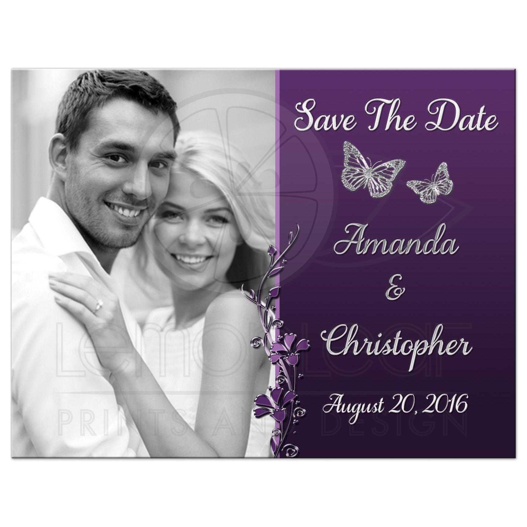83a241e14fe0d Plum, purple, and grey wedding save the date photo card with silver  butterflies and ...