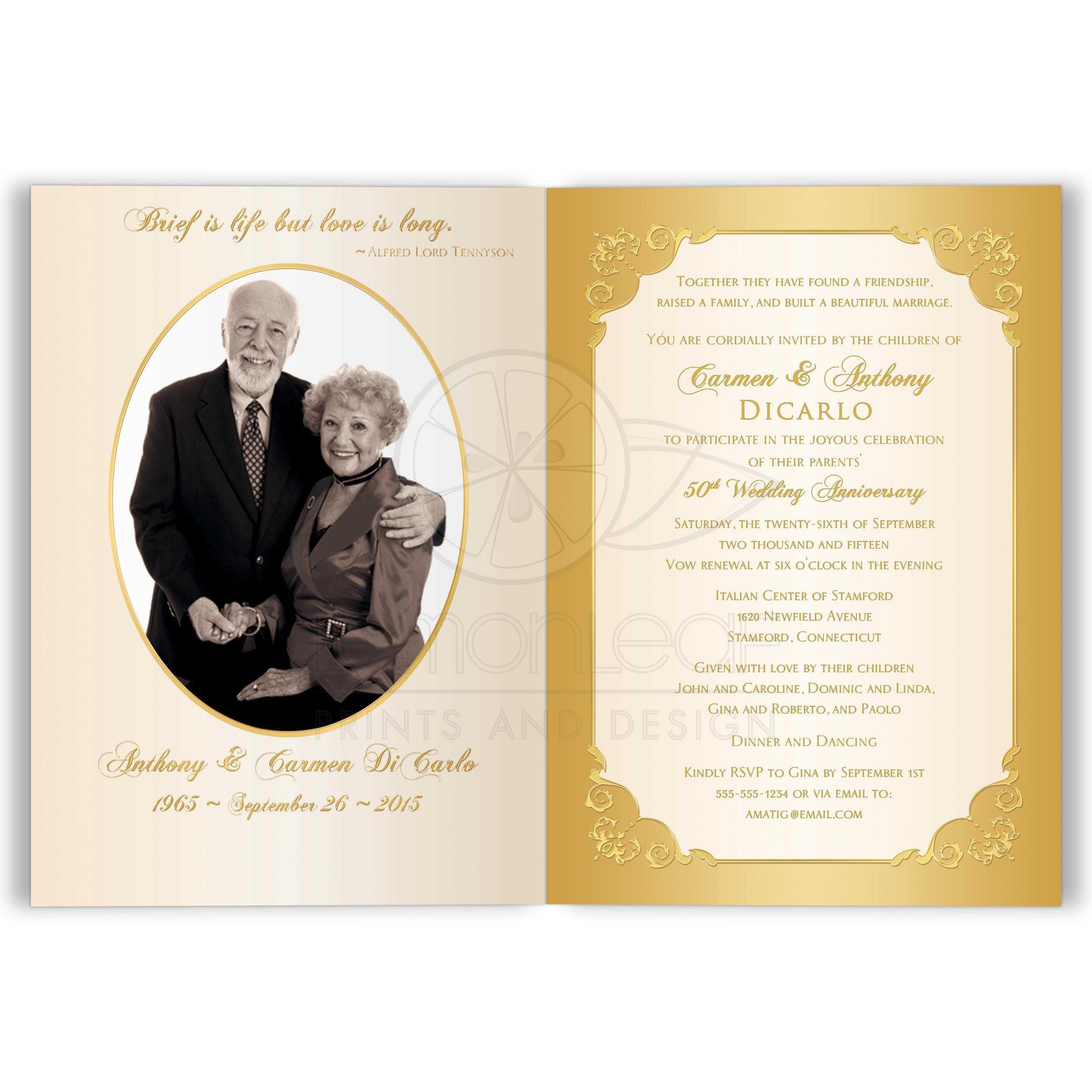 50th Wedding Anniversary Invitation | Double PHOTO | Ivory, Gold ...