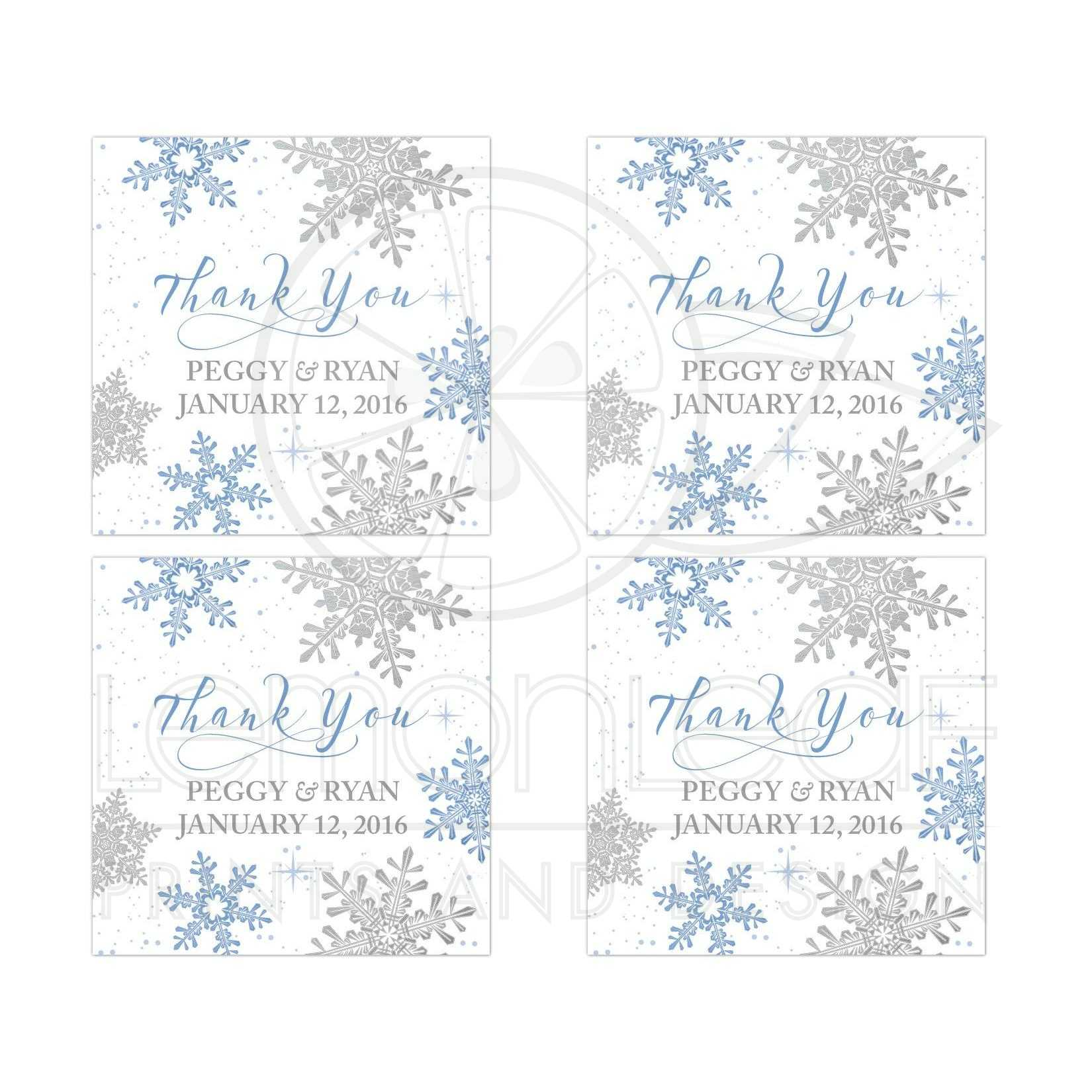 Winter Wedding Favor Stickers Blue Silver Snowflake Flourish