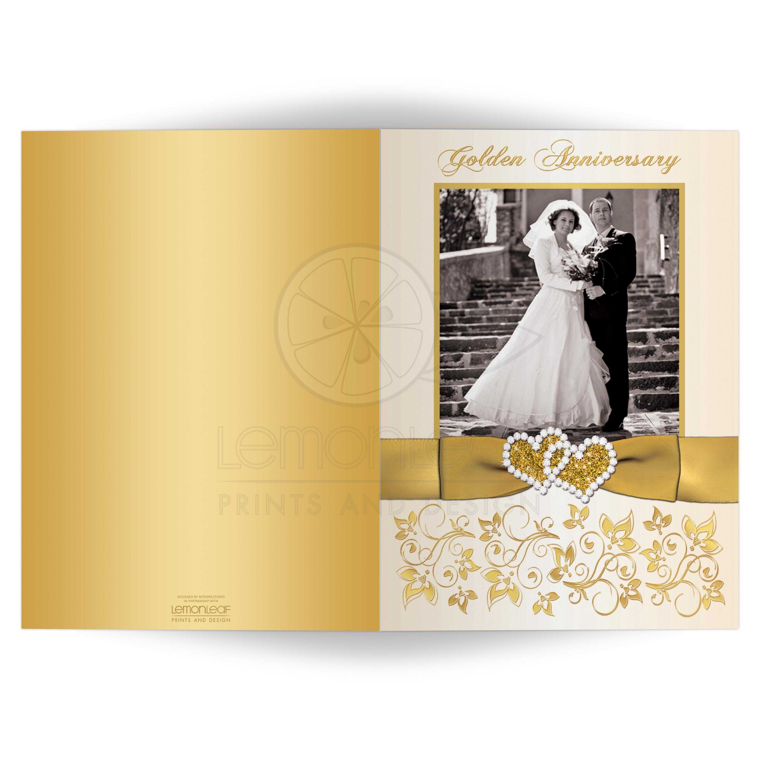 50th Wedding Anniversary Invitation Double Photo Ivory Gold Floral Printed Bow Joined Hearts