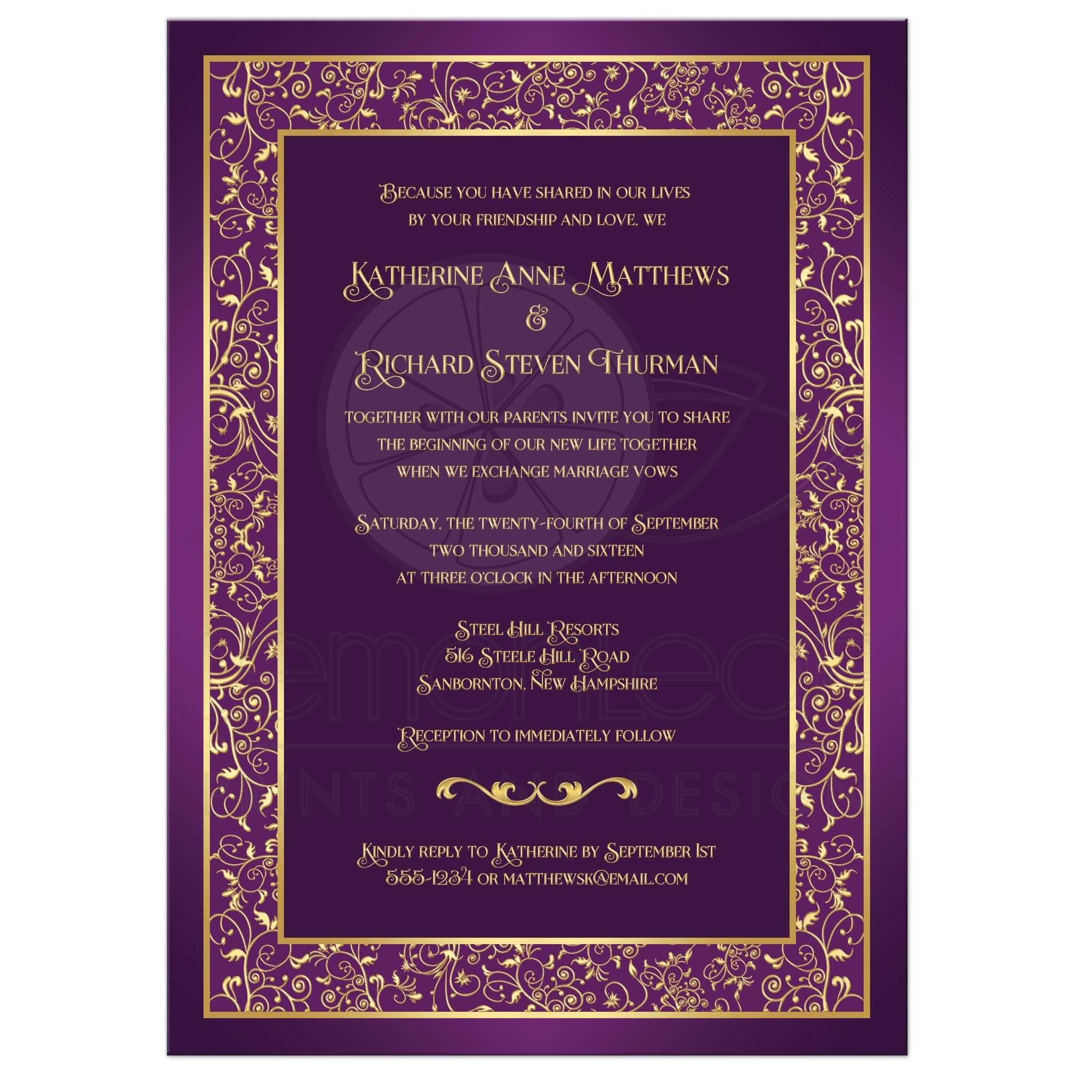Purple And Gold Wedding Invitation With Floral Scrolled Border ...