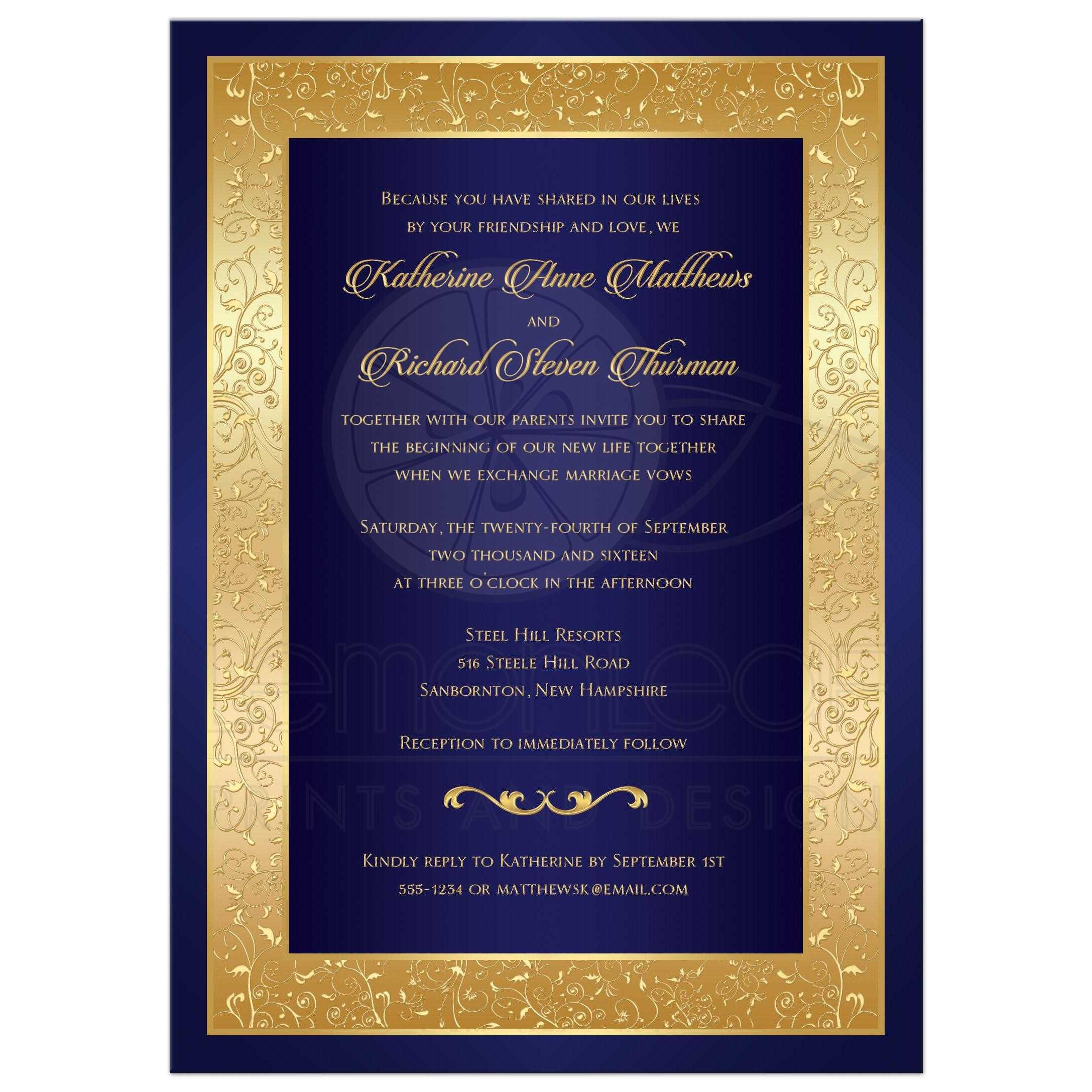Blue And Gold Wedding Invitation With Floral Scrolled Border ...