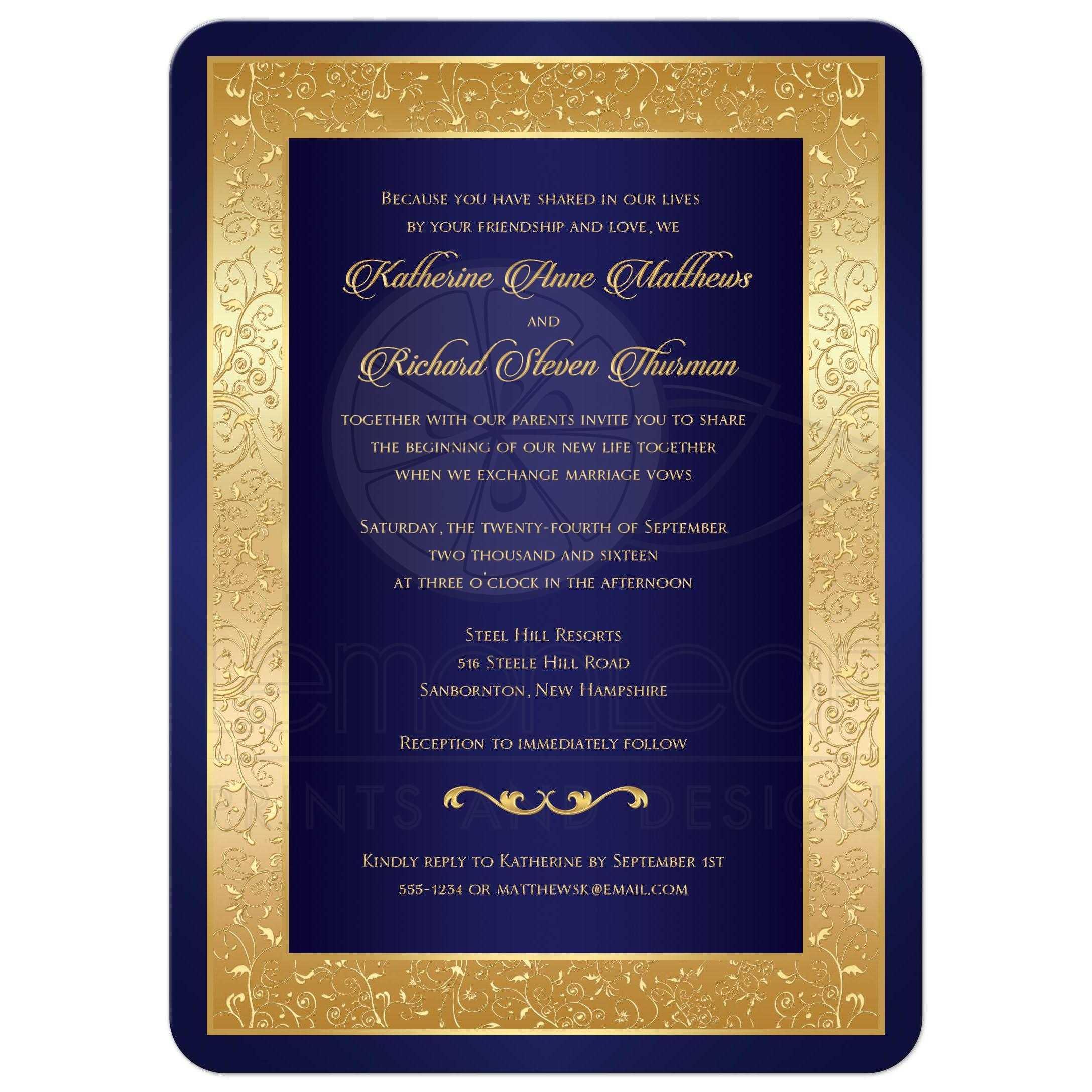 Gold And Blue Wedding Invitations: Ornate Scrolls, Vines