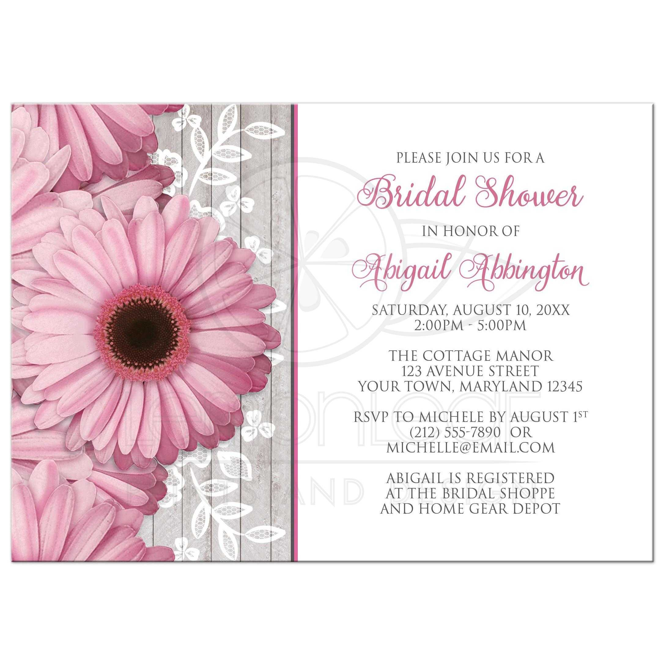 Bridal Shower Invitations - Rustic Pink Daisy Wood White