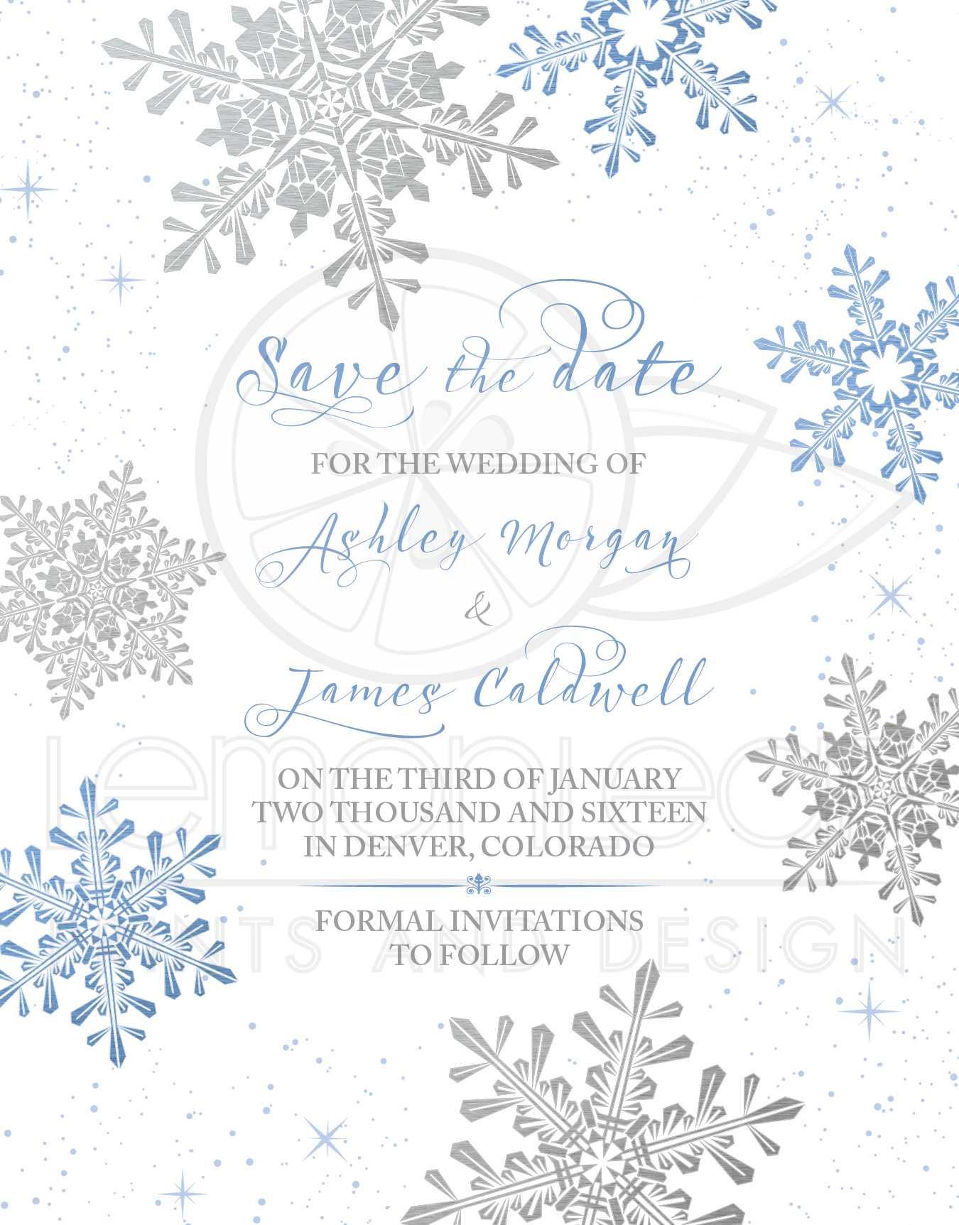 Winter Wedding Save the Date Invitation Blue Silver Snowflake Flourish