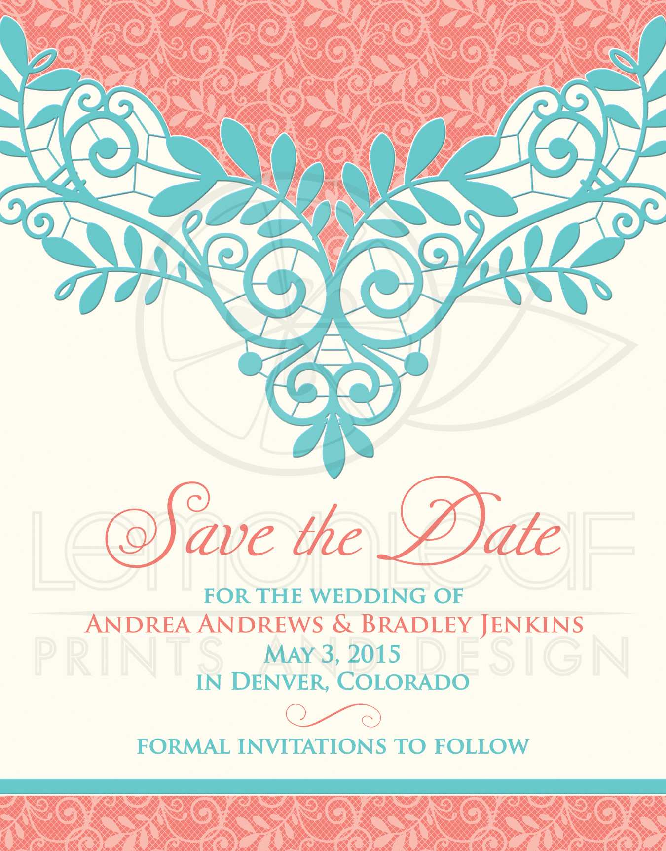 Wedding Save the Date Vintage Lace Coral Turquoise